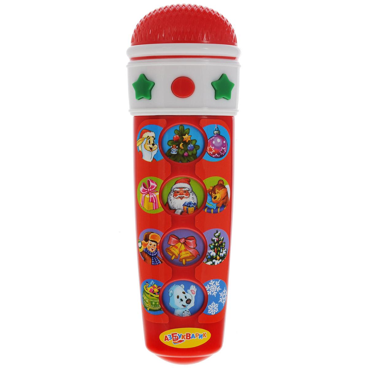 Музыкальная игрушка Азбукварик Микрофон Караоке Новогоднее, цвет: красный, белыйMSH0303-006Музыкальная игрушка Азбукварик Микрофон Караоке Новогоднее, выполненная из яркого пластика в виде микрофона, несомненно развлечет вашего малыша. На корпусе расположены четыре музыкальных кнопки, оформленные рисунками и воспроизводящие веселые песенки, а также кнопка остановки песни. На каждой кнопке микрофона записано по 3 песенки. 1. В лесу родилась елочка; 2. Расскажи, Снегурочка; 3. Новогодние игрушки; 4. Дед Мороз; 5. Что такое Новый Год; 6. Почему медведь зимой спит; 7. Рождественская песенка; 8. Кабы не было зимы; 9. Ёлочка; 10. Песенка Умки; 11. Песня Деда Мороза; 12. Белые снежинки. При нажатии музыкальной кнопки малыш услышит одну из песенок и сможет спеть. При повторном нажатии воспроизведется следующая песенка. Музыкальная игрушка Азбукварик Микрофон Караоке Новогоднее поможет вашему малышу развить слух, музыкальное восприятие, а также поднимет ребенку настроение и пополнит словарный...