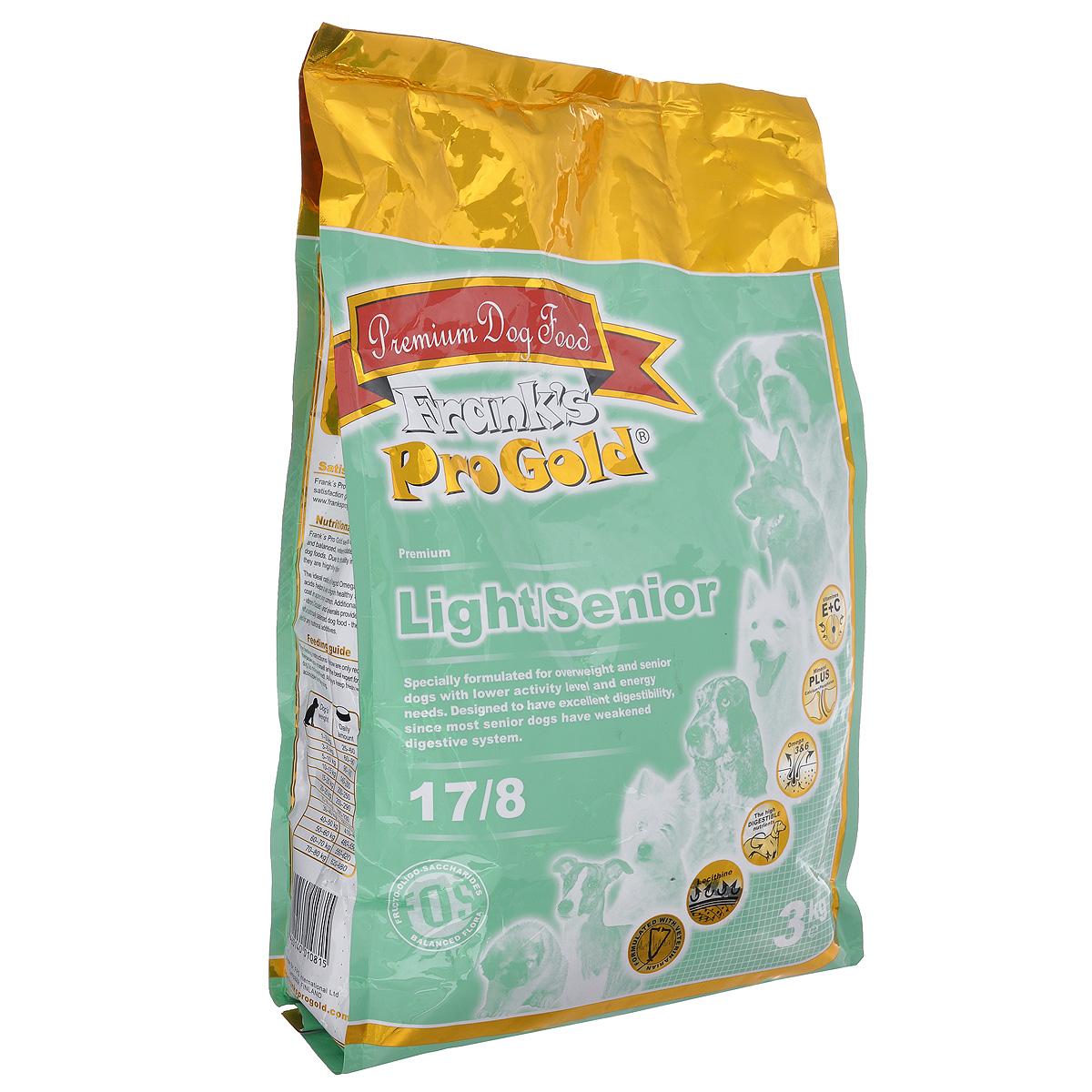 Franks ProGold Для собак Контроль веса: Индейка и Курица (Light/Senior 17/8), 3 кг.17924Состав: маис, дегидрированное мясо индейки, рис, свекла, куриный жир, гидролизованная куриная печень, льняное семя, кэроб, дегидрированная рыба, дрожжи, яичный порошок, минералы и витамины, гидролизованные хрящи (источник хондроитина), гидролизованные рачки (источник глюкозамина), L-карнитин, лецитин (мин. 0,5 %), инулин (мин. 0,5 % FOS), таурин. Пищевая ценность: Белки 17,0 %, жиры 8,0 %, клетчатка 2,5 %, зола 5,0 %, влажность 8,0 %, фосфор 0,65 %, кальций 0,8 %. Добавки: Витамин-A (E672) 15000 IU/кг, витамин-D3 (E671) 1500 IU/кг, витамин-E (альфа токоферола ацетат) 100 мг/кг, витамин-C (фосфат аскорбиновой кислоты) 100 мг/кг, E1 50 мг/кг, E2 1,5 мг/кг, E3 1,0 мг/кг, E4 8 мг/кг, E5 35 мг/кг, E6 65 мг/кг, E8 0,3 мг/кг. Калорийность: 3357,5 ккал/кг