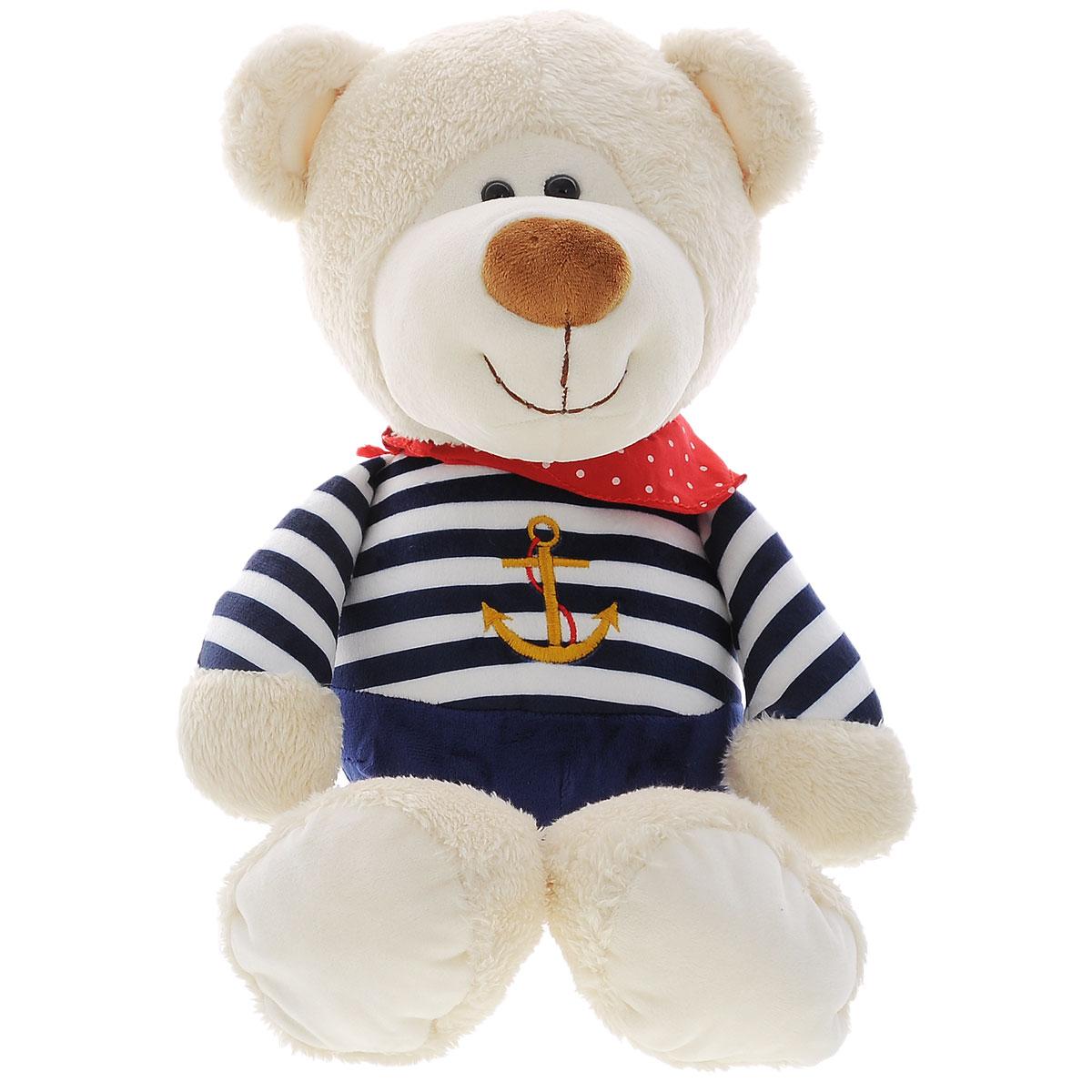 Мягкая игрушка Plush Apple Медведь моряк, 44 смK34124AМягкая игрушка Plush Apple Медведь моряк выполнена в виде трогательного медвежонка. Игрушка изготовлена из высококачественных текстильных материалов. Медвежонок одет в одежду морского стиля с изображением якоря, а на шее повязана красная косынка. Глазки выполнены из пластика. С такой забавной игрушкой можно смело засыпать в кроватке или отправляться на прогулку. Порадуйте ребенка такой игрушкой.