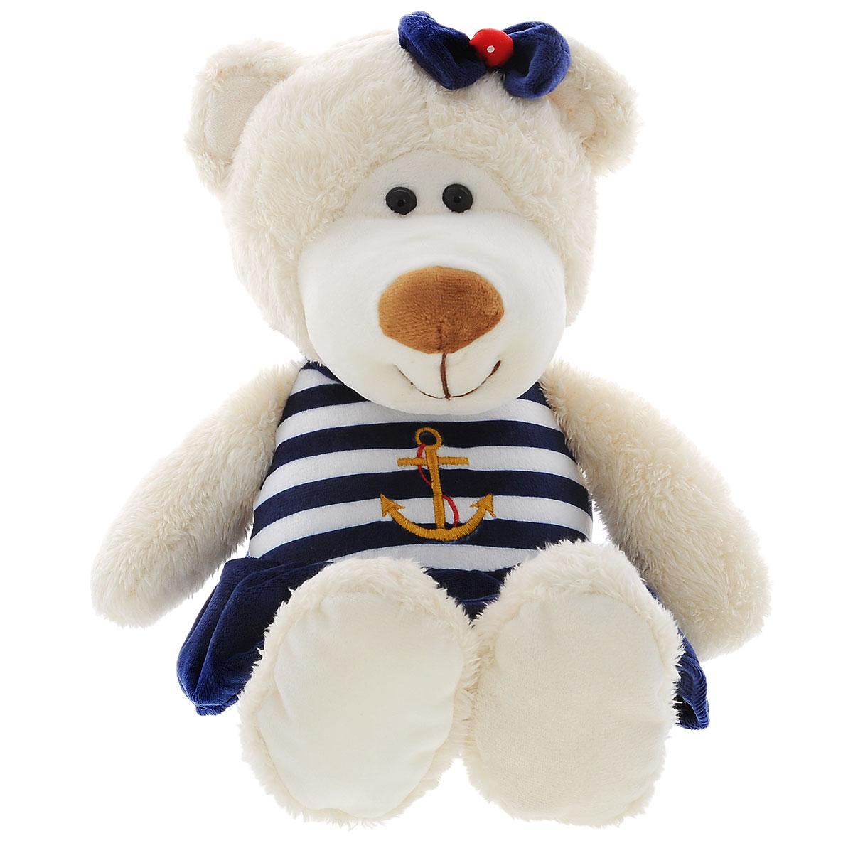 Мягкая игрушка Plush Apple Медведь морячка, 38 смK34124DМягкая игрушка Plush Apple Медведь морячка выполнена в виде трогательного медвежонка. Игрушка изготовлена из высококачественных текстильных материалов. Медвежонок одет в платье морского стиля с изображением якоря. Глазки выполнены из пластика. Небольшие размеры позволят малышу всюду брать ее с собой - на прогулку, в детский сад или в поездку. Такая игрушка вызывает умиление не только у детей, но и у взрослых. Поэтому она станет отличным подарком не только ребенку, но и друзьям.