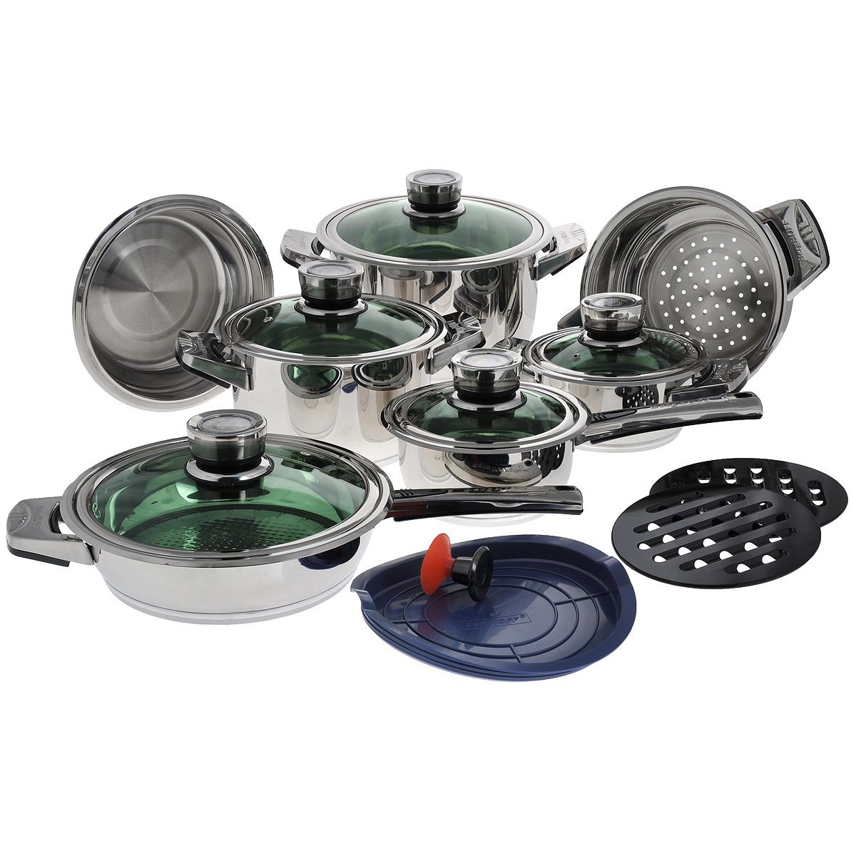 Набор посуды BergHOFF Mythe, цвет: металлик, 16 предметов1117010Набор посуды BergHOFF Mythe состоит из ковша с крышкой, 3 кастрюль с крышками, сковороды с крышкой, пароварки, миски с крышкой, кнопки-присоски, 2 подставок под горячее. Предметы набора изготовлены из высококачественной нержавеющей стали 18/10, которая обладает бактериостатическими свойствами. Сталь 18/10 - один из наиболее тонких и сбалансированных сплавов, используемых во всем мире, который гарантирует высокую химическую нейтральность к пище. Зеркальная полировка снаружи и внутри изделий обеспечивает превосходные антикоррозионные свойства материала (так как подобно пленке защищает внешнюю поверхность изделий и продлевает срок годности посуды), чистоту и гигиену (полное отсутствие в материале пор и микротрещин) и значительно облегчает ее чистку. Новое революционное термоаккумулирующее дно специальной конструкции с верхним открытым алюминиевым слоем и медным диском позволит теплу быстро и равномерно распределится по всей поверхности дна. Толщина...