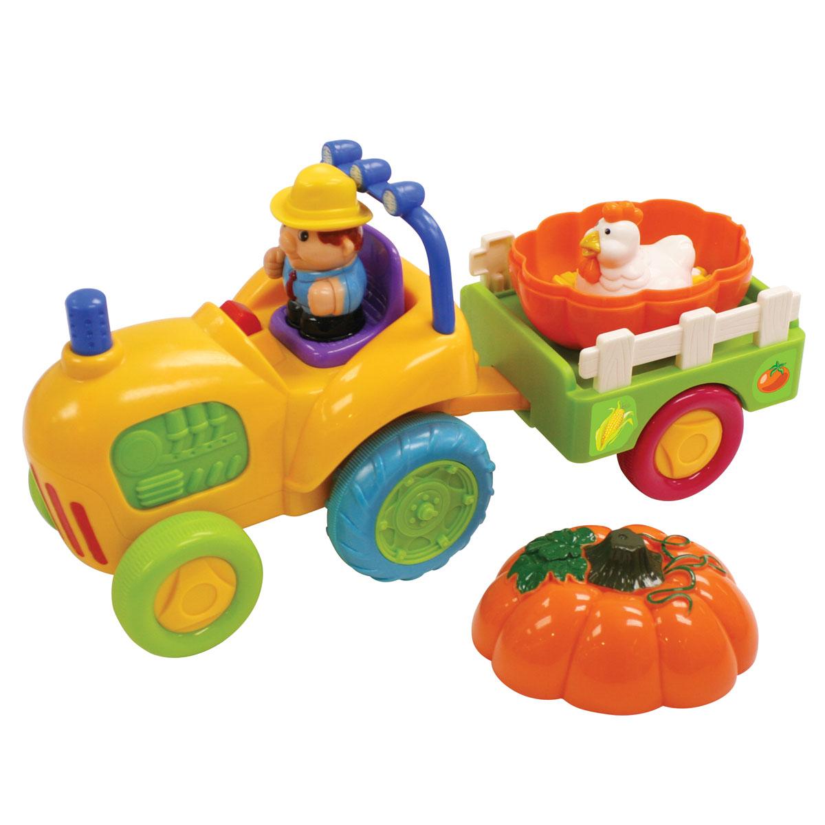 Kiddieland Развивающий центр Трактор с тыквойKID 041319Развивающий центр Kiddieland Трактор с тыквой - забавная развивающая игрушка с сюрпризом. В прицепе трактора лежит огромная тыква. Снимаем верхнюю половинку тыквы - а внутри на сене сидит курочка. Поднимаем курочку - а она, оказывается, высиживает яйца. В кабине трактора сидит человечек-тракторист, нажав на которого, малыш услышит мелодию. Нажав на трубу трактора, можно услышать шум мотора. Игрушка способствует развитию мелкой моторики, слухового и зрительного восприятия. Рекомендуемый возраст: от 18 месяцев. Питание: 3 батарейки типа АА (входят в комплект).