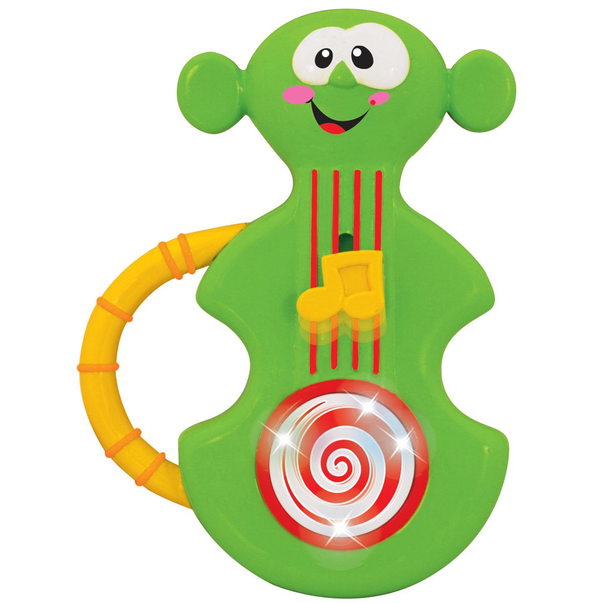 Kiddieland Развивающая игрушка Моя первая скрипкаKID 045831Развивающая игрушка Kiddieland Моя первая скрипка со звуковыми и световыми эффектами обязательно понравится юному музыканту. Скрипка выполнена в виде живого существа с симпатичным личиком. Малыш услышит приятные мелодии, а животик игрушки будет крутиться и светиться. Скрипку удобно держать в маленьких детских ручках. Игрушка способствует развитию мелкой моторики, слухового и зрительного восприятия. Рекомендуемый возраст: от 12 месяцев. Питание: 2 батарейки типа АА (входят в комплект).