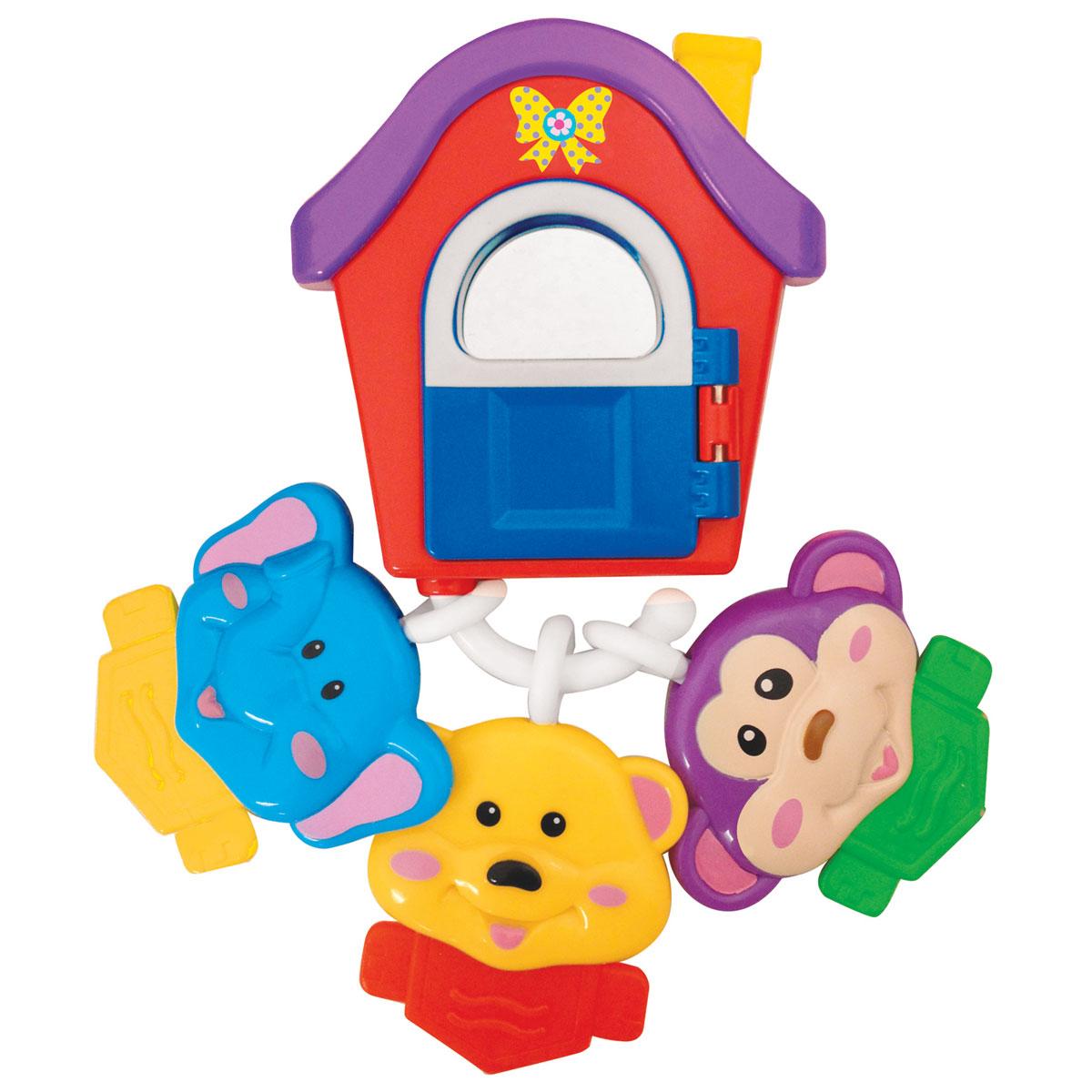 Kiddieland Развивающая игрушка Домик друзейKID 049536Развивающая игрушка Kiddieland Домик друзей это яркая, красочная музыкальная погремушка, которая развлечет малыша веселой музыкой и познакомит с интересной компанией зверюшек. Забавные и жизнерадостные слоник, мартышка и медвежонок готовы развлечь и рассмешить малыша. Фигурки выполнены из высококачественных материалов и абсолютно безопасны для малыша, поэтому их можно использовать как прорезыватели. Домик этих милых зверюшек имеет открывающуюся дверку и безопасное зеркальце, в котором малыш сможет рассматривать свое отражение под веселую мелодию. Игрушка способствует развитию мелкой моторики, слухового и зрительного восприятия. Рекомендуемый возраст: от 3 месяцев. Питание: 3 батарейки типа LR44 (входят в комплект).