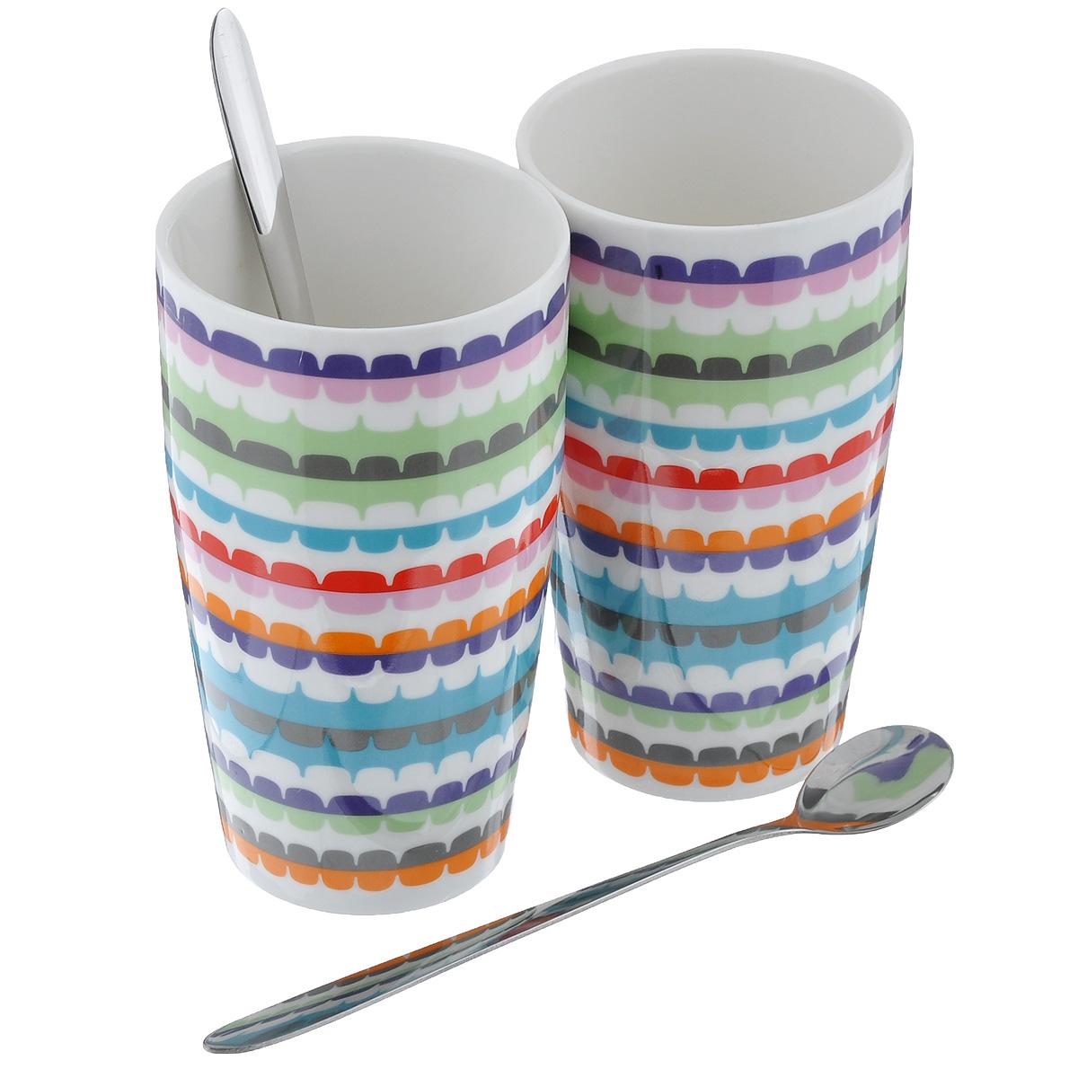Набор стаканов для латте Sagaform Pop, с ложками, 500 мл, 2 шт5017114Набор Sagaform Pop состоит из двух стаканов для латте, изготовленных из высококачественной глазурованной керамики. Изделия украшены ярким орнаментом. В комплекте предусмотрены 2 металлические ложечки. Яркая расцветка и современный дизайн хорошо впишутся в интерьер любой кухни. Серия посуды POP удобна для повседневного использования. Можно мыть в посудомоечной машине. Диаметр стакана (по верхнему краю): 8,5 см. Высота стакана: 15 см. Длина ложечки: 18,5 см.