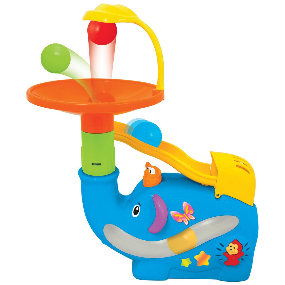 Kiddieland Развивающая игрушка Забавный слон с шарамиKID 049460Развивающая игрушка Kiddieland Забавный слон с шарами обязательно порадует малыша. Слон выдувает шарики в тарелку, из которой они скатываются по желобу и вновь попадают внутрь слона. Игрушка способствует развитию координации движений, ловкости, внимания и воображения. Рекомендуемый возраст: от 18 месяцев. Питание: 4 батарейки типа AА (входят в комплект).