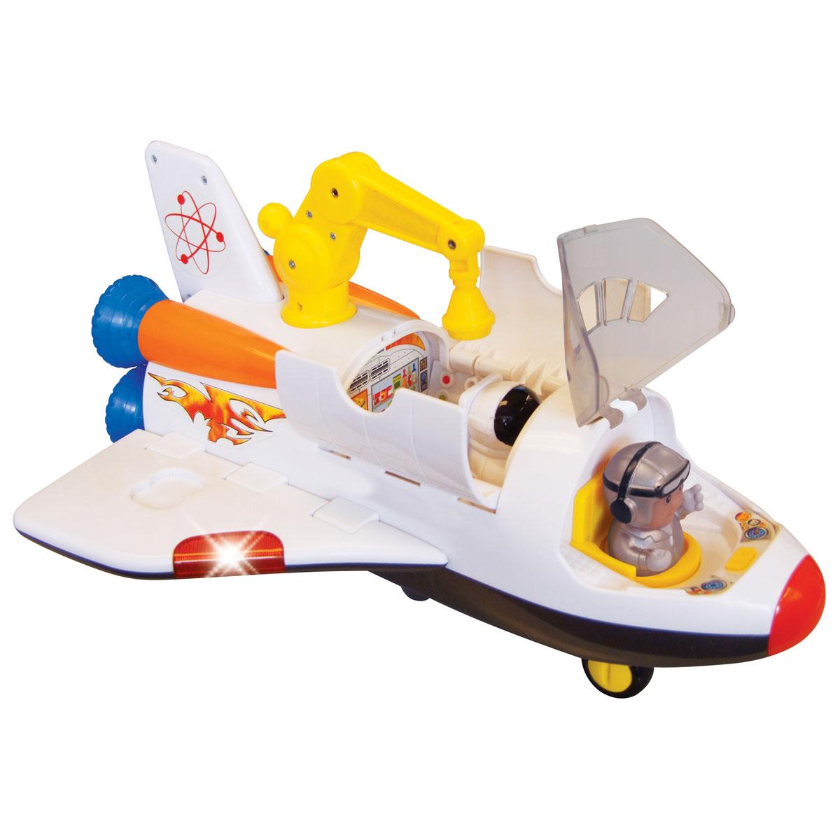 Kiddieland Развивающая игрушка Космический корабльKID 045898Развивающая игрушка Kiddieland Космический корабль обязательно порадует малыша. Это отличная игрушка, оснащенная звуковыми эффектами, имеет открывающийся люк, большую кабину для космонавта, мини инженерную станцию с компьютерами и многое другое. Игрушка способствует развитию координации движений малыша, ловкости, внимательности и воображения. Рекомендуемый возраст: от 12 месяцев. Питание: 4 батарейки типа AА (входят в комплект).