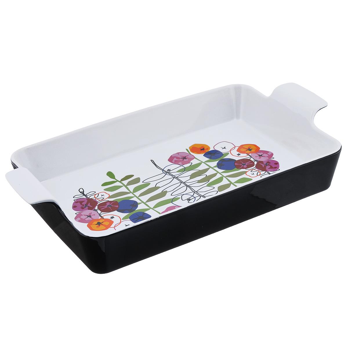 Блюдо для запекания Sagaform Season, 32 см х 22 см5015822Блюдо для запекания Sagaform Season изготовлено из высококачественной жаропрочной керамики, покрытой глазурью. Дно изделия оформлено красочным дизайнерским рисунком. Основным достоинством керамической посуды является ее абсолютная экологичность. Другим достоинством керамики является ее способность отдавать влагу продуктам во время их приготовления, что объясняется ее пористой структурой. Блюда, приготовленные в керамической посуде, пропекаются равномерно, сохраняют витамины и полезные вещества, а также отличаются отменным вкусом и ароматом. Посуда пригодна для использования в духовом шкафу. Можно мыть в посудомоечной машине. Внутренний размер блюда: 32 см х 22 см. Высота стенки: 6 см.
