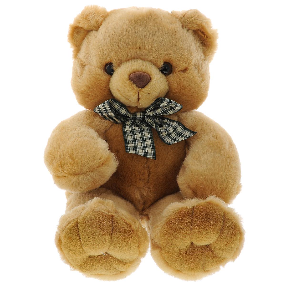 """Мягкая игрушка Plush Apple """"Медведь с бантиком"""", цвет: светло-коричневый, 45 см"""