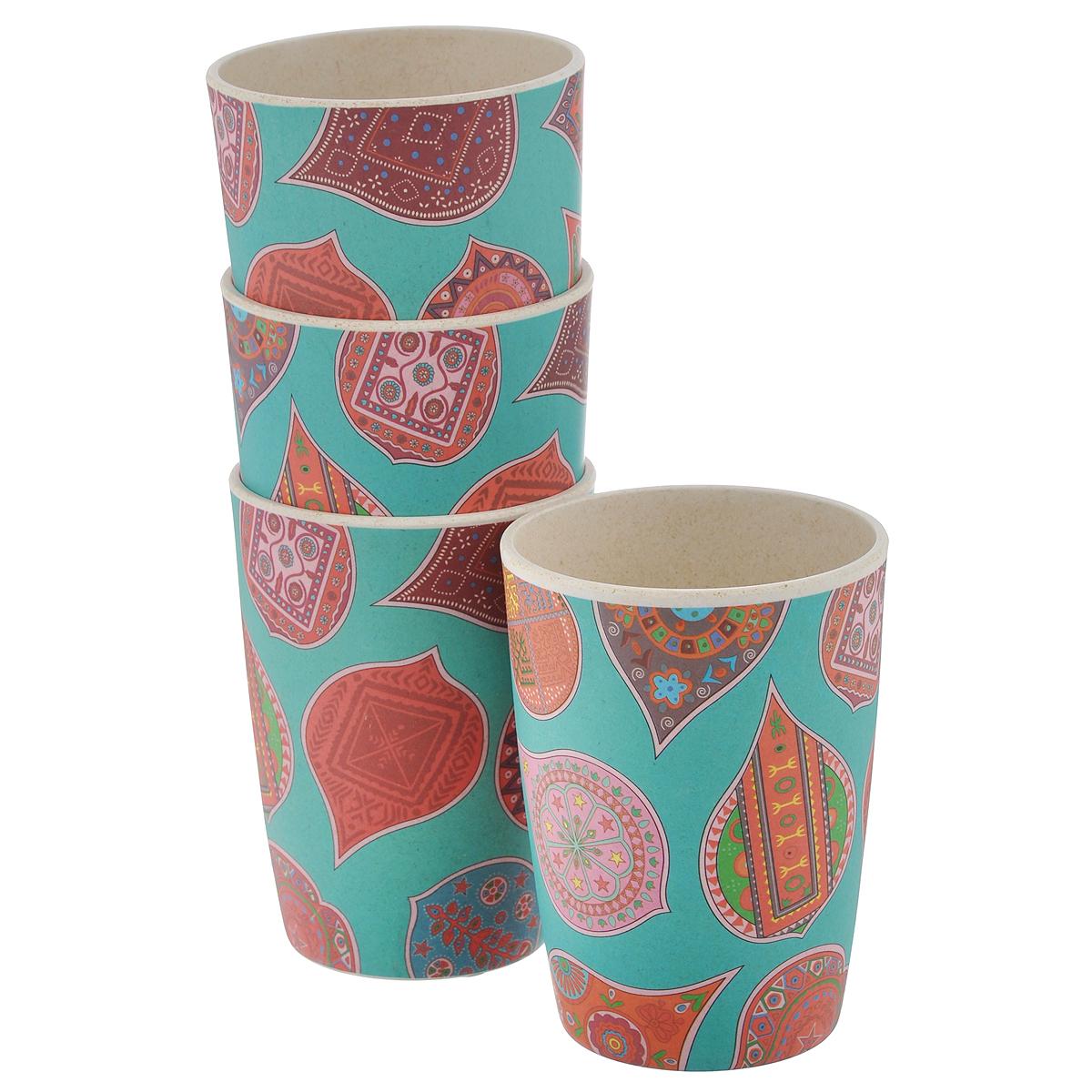 Набор стаканов EcoWoo Индиа Блу, 300 мл, 4 шт2007026U-4Набор EcoWoo Индиа Блу состоит из 4 стаканов, выполненных из экологически чистого бамбукового волокна. Такие стаканы имеют неоспоримые преимущества по сравнению со стаканами из других материалов. Они безопасные, биоразлагаемые, небьющиеся. Стильный дизайн прекрасно впишется в интерьер современной кухни. Можно мыть в посудомоечной машине. Диаметр стакана (по верхнему краю): 8 см. Высота стакана: 11 см.