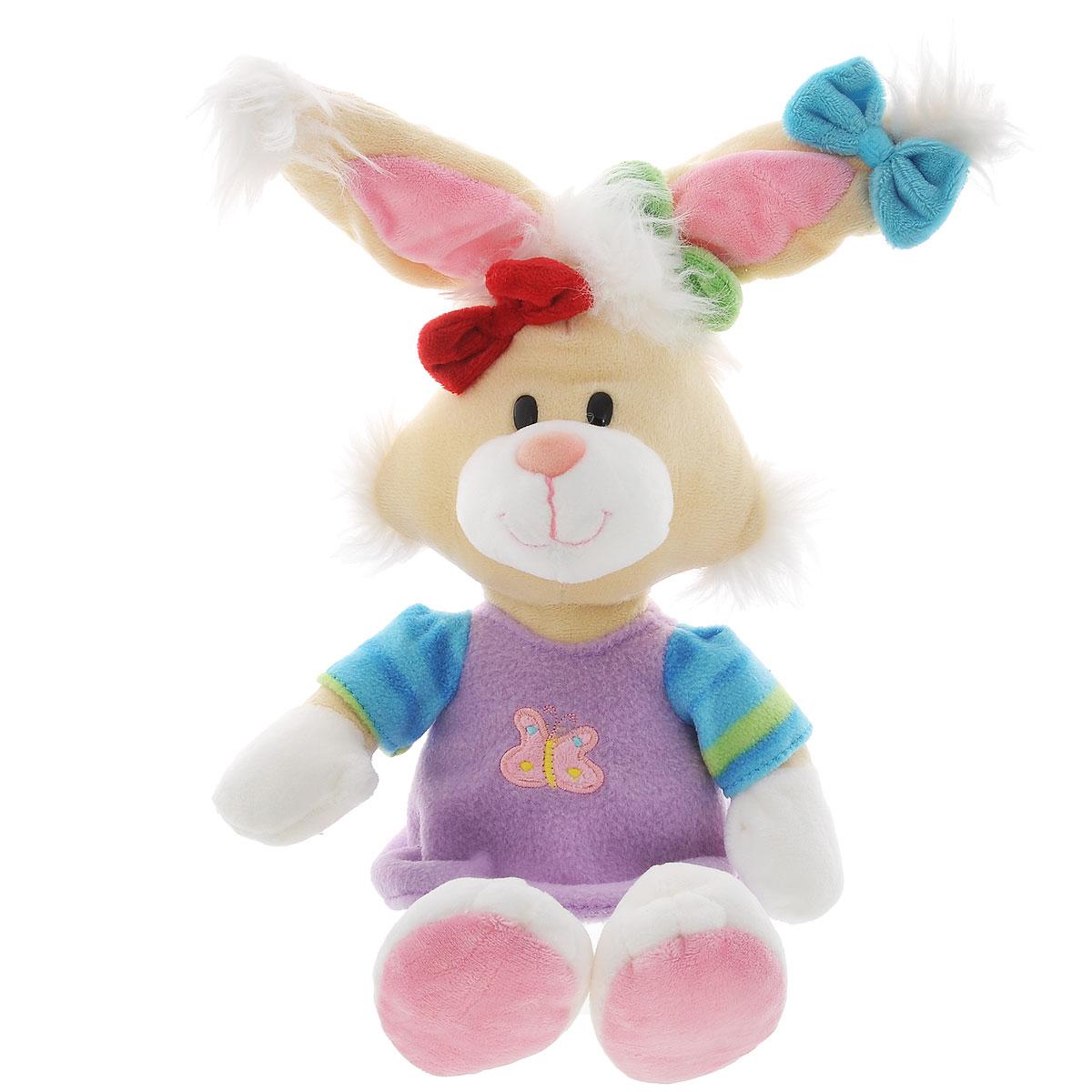 Мягкая игрушка Plush Apple Кролик в платье, 46 смK96160A,B,CОчаровательная и яркая мягкая игрушка Plush Apple Кролик в платье обязательно вызовет улыбку у детей и взрослых. Игрушка изготовлена из высококачественного текстильного материала в виде забавного кролика в фиолетовом платье. Удивительно мягкая игрушка принесет радость и подарит своему обладателю мгновения нежных объятий и приятных воспоминаний. Небольшие размеры игрушки позволяют брать ее на прогулку и в гости, поэтому малышу больше не придется расставаться со своим новым другом. Специальные гранулы, используемые при ее набивке, способствуют развитию мелкой моторики рук малыша.