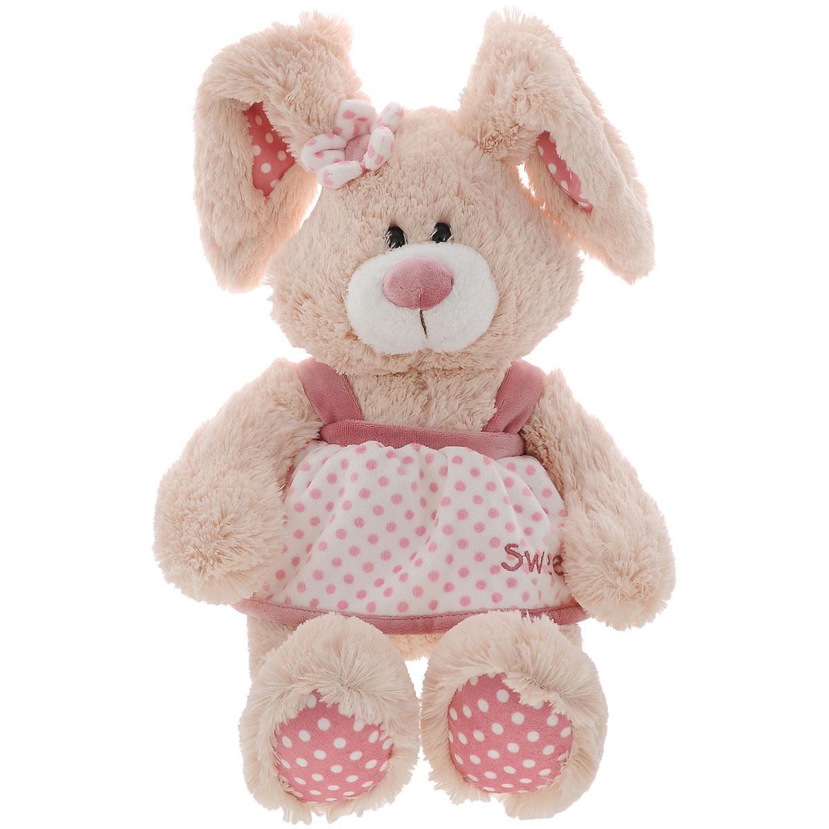 Мягкая игрушка Plush Apple Заяц в платье, 40 смK33169AОчаровательная мягкая игрушка Plush Apple Заяц в платье привлечет внимание любого ребенка. Изделие изготовлена из приятных на ощупь и очень мягких материалов, безвредных для малыша. Игрушка выполнена в виде милого зайца в бело-розовом платье с цветочком на голове и пластиковыми глазками. Удивительно мягкая игрушка принесет радость и подарит своему обладателю мгновения нежных объятий и приятных воспоминаний.