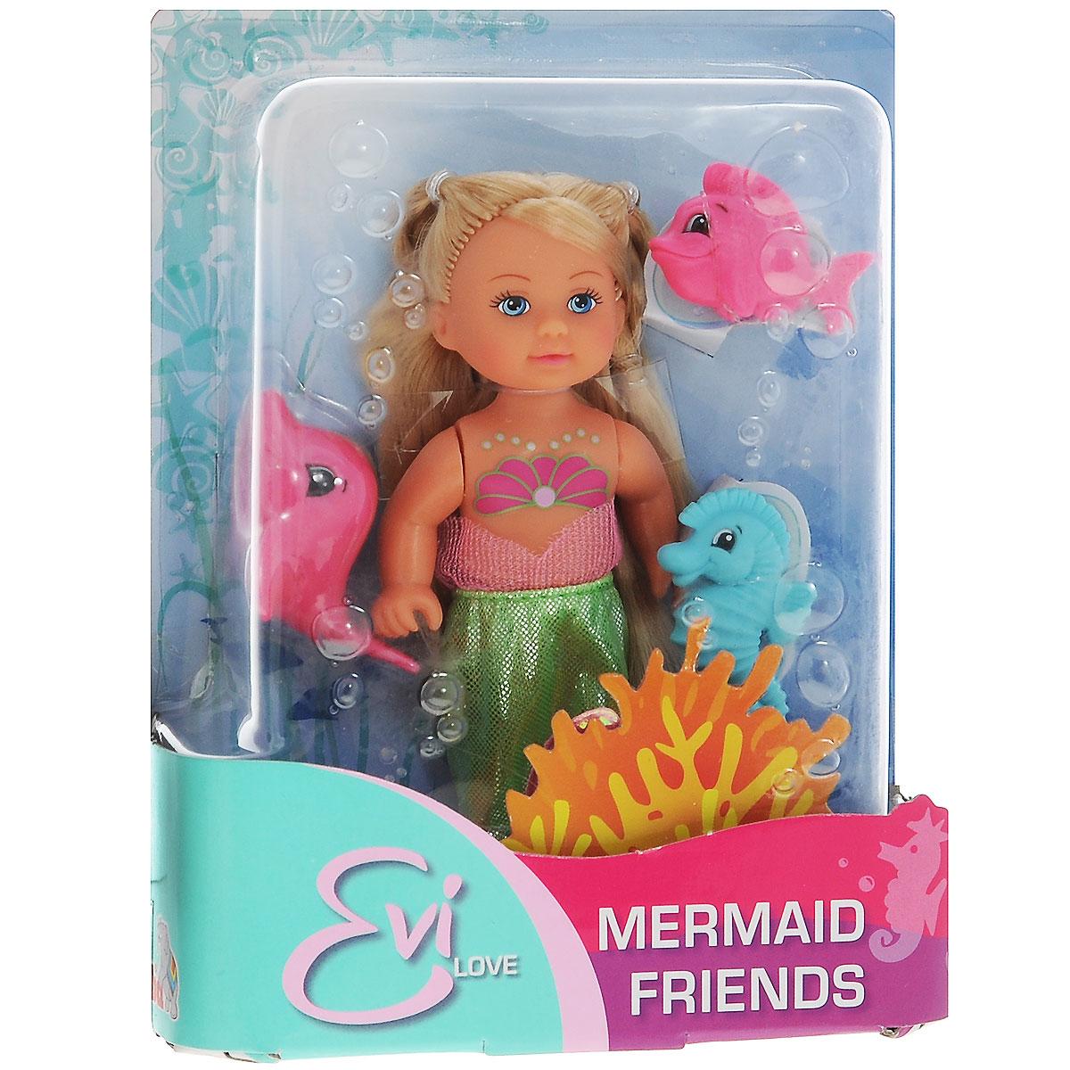 Кукла Simba Еви-русалочка с рыбками, цвет: салатовый5737788_цвет салатовыйКукла Simba Еви-русалочка с рыбками порадует любую девочку и надолго увлечет ее. В комплект входит кукла Еви и 3 питомца - рыбка, дельфин и морской конек. Красавица Еви выглядит совсем как настоящая русалка. Ее рыбий хвост съемный и выполнен из блестящего текстильного материала. Вашей дочурке непременно понравится заплетать длинные белокурые волосы куклы, придумывая разнообразные прически. Руки, ноги и голова куклы подвижны, благодаря чему ей можно придавать разнообразные позы. Игры с куклой способствуют эмоциональному развитию, помогают формировать воображение и художественный вкус, а также разовьют в вашей малышке чувство ответственности и заботы. Великолепное качество исполнения делают эту куколку чудесным подарком к любому празднику.