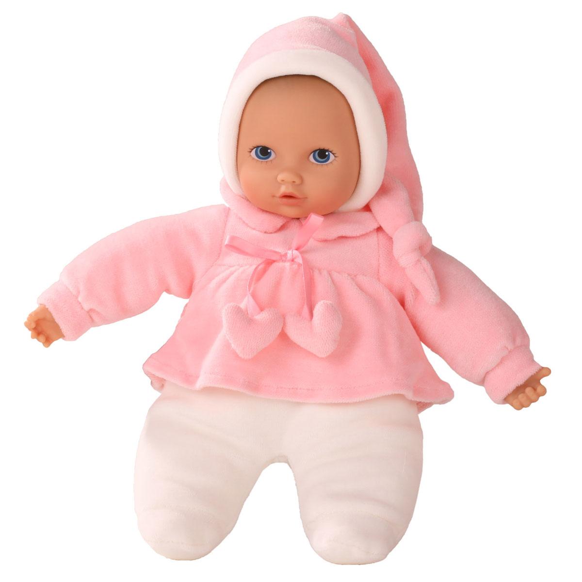 Gotz Пупс Baby Pure цвет белый розовый1391115Мягкий Пупс Baby Pure, немецкой фирмы Gotz понравится всем малышам, ведь с ним можно проводить много времени вместе, укладывать спать и брать с собой на прогулку. Кукла Baby Pure с мягким телом одета в костюмчик для сна. На малыше мягкий флисовый костюм розового цвета с милым бантиком и розовая шапочка. Наряд куколки плотно соединен с тельцем, а потому можно не бояться, что малыш нечаянно снимет одежду в процессе игры. Пупс не имеет волос, голова, руки и ноги выполнены из винила. Малыш имеет очаровательные черты лица: маленький рот и носик, широко раскрытые глазки с нарисованными ресницами. Кукла полностью безопасна и гипоаллергенна, поэтому подходит малышам с самого рождения.