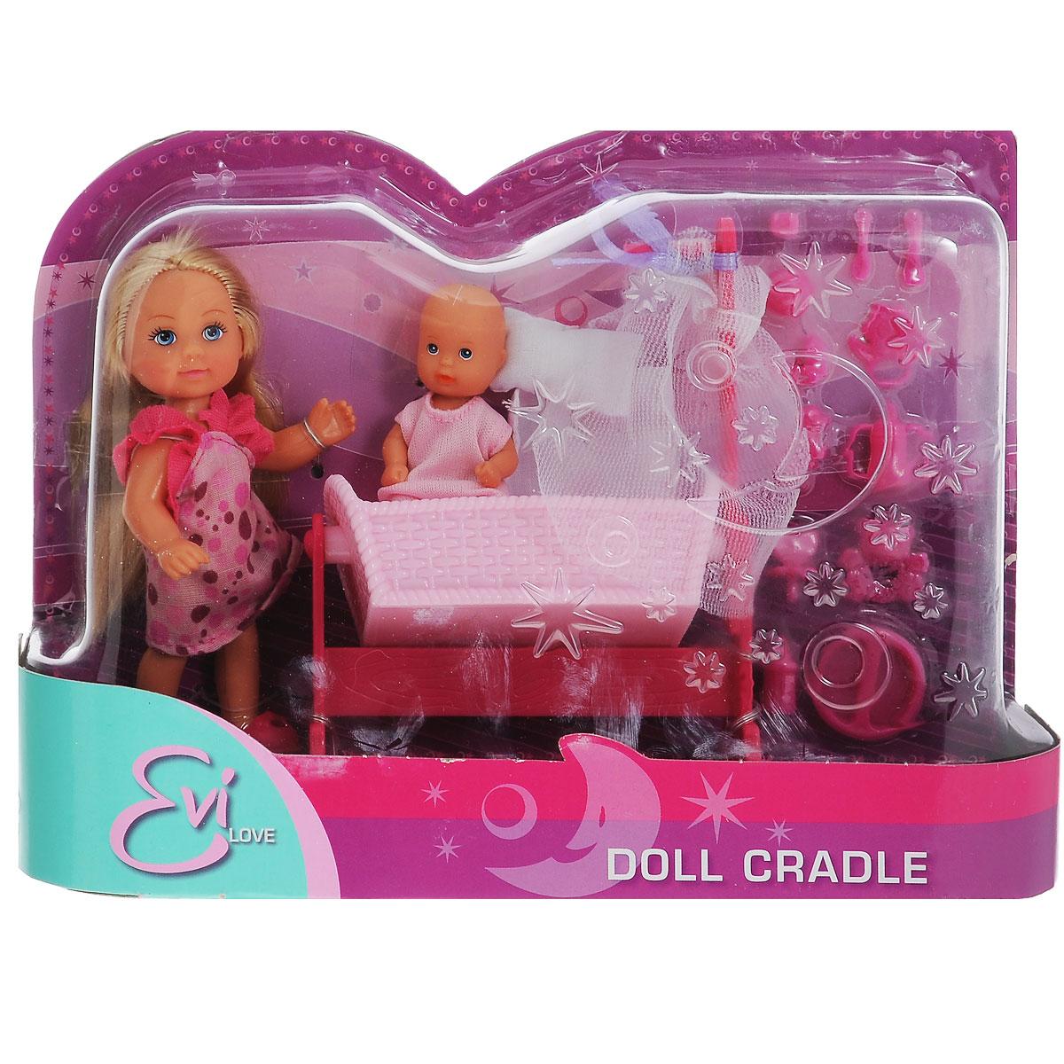 Simba Игровой набор Doll Cradle цвет розовый5736242Игровой набор Simba Doll Cradle порадует любую девочку и надолго увлечет ее. В комплект входит кукла Еви, пупс-малыш, колыбель для малыша с мягкой подушкой и одеялом, а также множество аксессуаров для кормления и ухода за малышом. Все аксессуары выполнены из прочного безопасного пластика. Кукла Еви одета в длинное платье в цветочек, на голове у нее - эластичный ободок. На малыше надето розовое боди. Вашей дочурке непременно понравится заплетать длинные белокурые волосы куклы, придумывая разнообразные прически. Руки, ноги и голова куклы подвижны, благодаря чему ей можно придавать разнообразные позы. Игры с куклой способствуют эмоциональному развитию, помогают формировать воображение и художественный вкус, а также разовьют в вашей малышке чувство ответственности и заботы. Великолепное качество исполнения делают этот набор чудесным подарком к любому празднику.