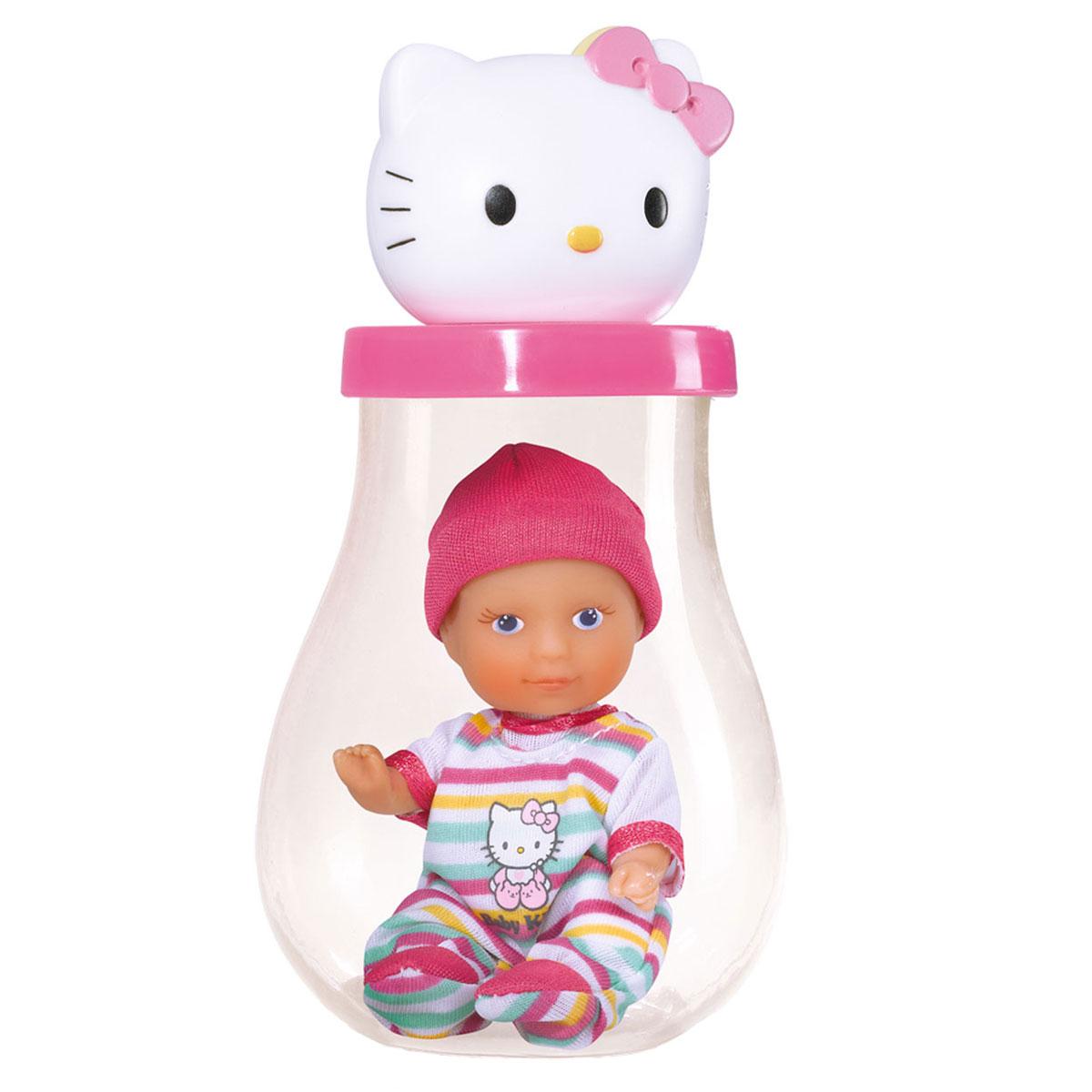 Simba Пупс Hello Kitty в банке цвет розовый5013363Пупс Simba Hello Kitty непременно приведет в восторг вашу дочурку. Голова пупса выполнена из прочного пластика, а тело - мягконабивное. Очаровательный малыш одет в рубашку розового цвета, оформленную принтом с изображением кошечки Китти, а на голове у него - розовый чепчик. Рубашка фиксируется при помощи липучки на спинке. Пупс упакован в оригинальную пластиковую бутылочку. Трогательный пупс принесет радость и подарит своей обладательнице мгновения нежных объятий. Игры с куклами способствуют эмоциональному развитию, помогают формировать воображение и художественный вкус, а также разовьют в вашей малышке чувство ответственности и заботы. Великолепное качество исполнения делают эту куколку чудесным подарком к любому празднику.