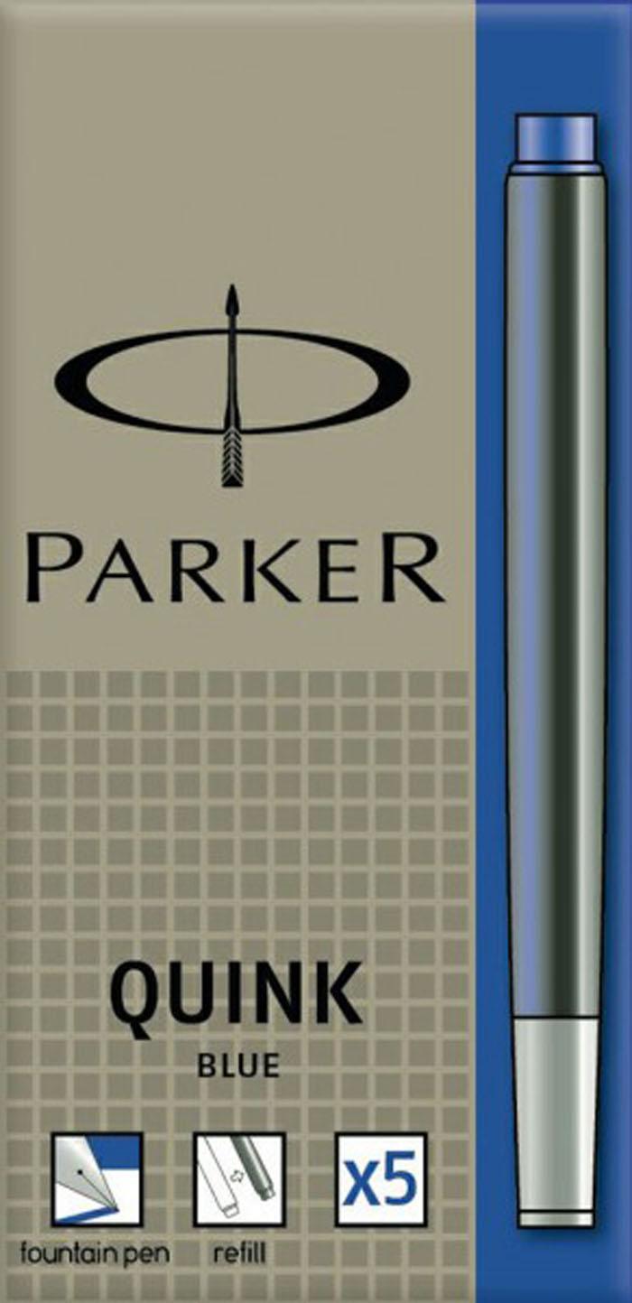 Чернильный картридж для перьевой ручки Паркер Нью Куинк Картриджес. Для использования в перьевых ручках Паркер, смывающиеся чернила синего цвета, 5 шт. в упаковке. Произведено во Франции.Срок годности 4 года.