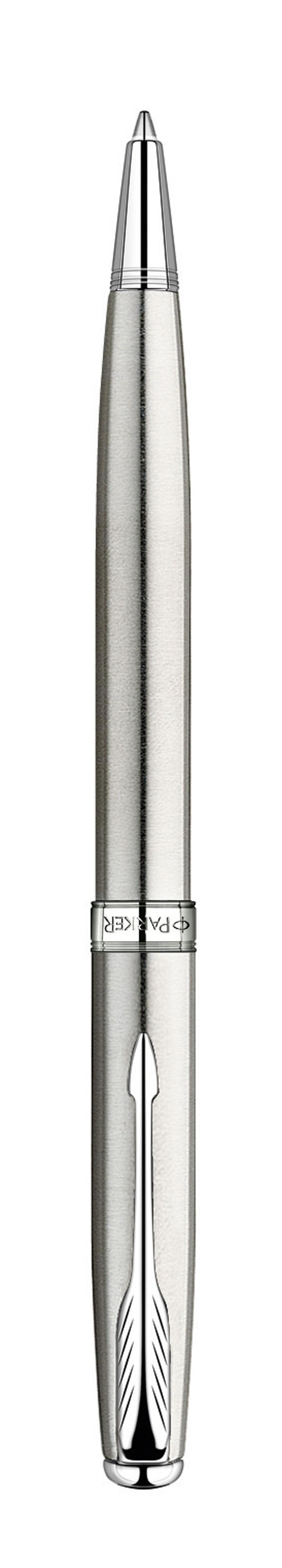 Ручка шариковая Паркер Соннет Стэйнлесс Стил Си Ти. Инструмент для письма, линия письма - средняя, чернила черного цвета, в подарочной упаковке. Произведено во Франции.
