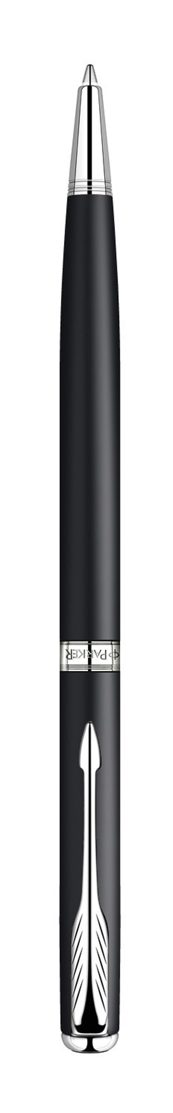 Ручка шариковая Sonnet SLIM Matte Black CT. PARKER-S0818170PARKER-S0818170Шариковая ручка с тонким корпусом Паркер Соннет Матт Блэк Си Ти. Инструмент для письма, линия письма - средняя, цвет чернил черный, в подарочной упаковке. Произведено во Франции.