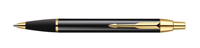 Шариковая ручка Parker IM Black GT в латунном корпусе с позолотой. Инструмент для письма, линия письма - средняя, цвет чернил синий. Паспорт в комплекте.