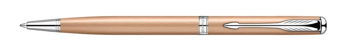 Ручка шариковая Sonnet slim Pink Gold PVD CT. PARKER-S0947300PARKER-S0947300Ручка шариковая «Паркер Соннет Слим Пинк Голд Си Ти». Инструмент для письма, линия письма – средняя, цвет чернил – черный, в подарочной упаковке. Произведено во Франции.