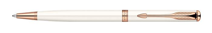 Ручка шариковая Sonnet SLIM Pearl Lacquer PGT. PARKER-S0947400PARKER-S0947400Ручка шариковая «Паркер Соннет Слим Перл Лак Пи Джи Ти». Инструмент для письма, линия письма – средняя, цвет чернил – черный, в подарочной упаковке. Произведено во Франции.