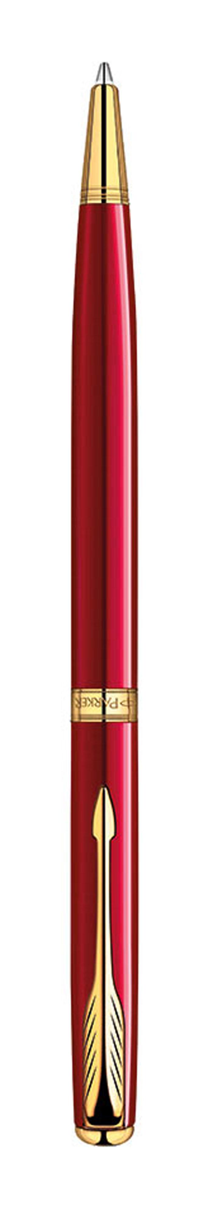Ручка шариковая Sonnet Slim Laque Red GT. PARKER-S1859473PARKER-S1859473Ручка шариковая «Паркер Соннет Слим Рэд Джи Ти». Чернила черного цвета, линия письма – тонкая, в подарочной упаковке. Произведено во Франции.