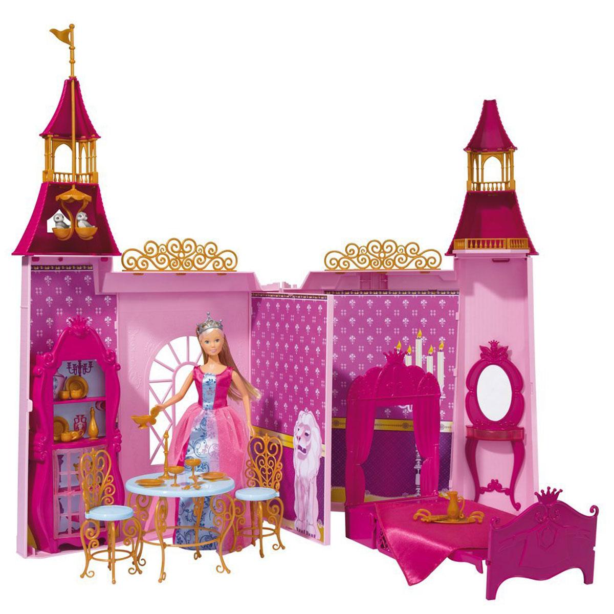Simba Игровой набор с куклой Замок Штеффи5731118Кукла Simba Штеффи и ее замок надолго займет внимание вашей малышки и подарит ей множество счастливых мгновений. Кукла изготовлена из пластика, ее голова, ручки и ножки подвижны, что позволяет придавать ей разнообразные позы. Каждая кукла мечтает жить в таком шикарном замке, который есть у куклы Штеффи! Это очень красочный, детально проработанный набор, в который входит не только сама кукла, но и ее замок, а также множество аксессуаров для игры. Замок создан в розовом, малиновом, лиловом цвете с вкраплениями золотого. В наборе есть резные стульчики и стол, королевская кровать, шкафчик, туалетный столик, посуда. В высоких башнях можно рассмотреть гнездо птичек, балкончики. Замок можно складывать и раскладывать, как книгу. Специальная перегородка делит пространство на 2 комнаты. В комплекте с куклой имеется раскладной замок, сборная мебель и аксессуары. Кукла одета в шикарное длинное платье с блестками. Наряд дополняют розовые туфельки и корона. Благодаря...
