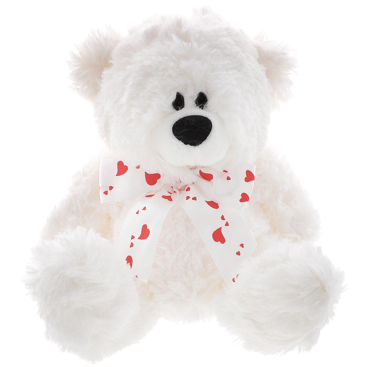 Plush Apple Мягкая игрушка Медведь с лентой, 17 смK76208L1Игрушка Plush Apple Медведь с лентой, выполненная в виде медвежонка с бантиком с сердечками на шее, очарует не только ребенка, но и взрослого. Изготовлен медвежонок из искусственного меха и текстильных материалов, с элементами из пластика. В качестве набивки используется полиэфирное волокно. Необычайно мягкая игрушка принесет радость и подарит своему обладателю мгновения нежных объятий и приятных воспоминаний. Великолепное качество исполнения делает игрушку Plush Apple Медведь с лентой чудесным подарком к любому празднику.