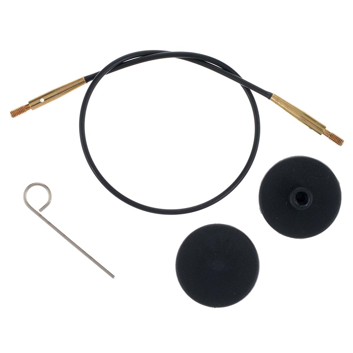 Тросик для съемных спиц KnitPro, с заглушками, цвет: черный, золотистый, длина 20 см10531Тросик KnitPro, изготовленный из гибкого пластика и металла, легко комбинируются со съемными спицами. Для надежного соединения со спицами тросик комплектуется ключиком и двумя заглушками. Подходит для любого вида съемных спиц: деревянных, никелированных и акриловых фирм KnitPro, Prym и LanaGrossa. Изделие моментально распрямляется и больше не закручивается. На концах тросика - резьба для прикручивания его к спицам. Место соединения спиц и тросика - надежное и гладкое, ничто не помешает петелькам скользить по спицам. Если необходимо использовать спицы для вязания другого изделия, просто открутите их, прикрутите заглушки к тросику и принимайтесь за новое вязание! Длина тросика: 20 см. Длина тросика (с учетом длины съемных спиц): 40 см.