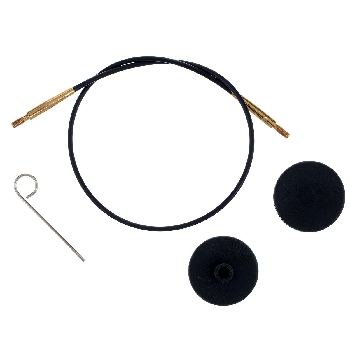 Тросик для съемных спиц KnitPro, с заглушками, цвет: черный, золотистый, длина 28 см10563Тросик KnitPro, изготовленный из гибкого пластика и металла, легко комбинируются со съемными спицами. Для надежного соединения со спицами тросик комплектуется ключиком и двумя заглушками. Подходит для любого вида съемных спиц: деревянных, никелированных и акриловых фирм KnitPro, Prym и LanaGrossa. Изделие моментально распрямляется и больше не закручивается. На концах тросика - резьба для прикручивания его к спицам. Место соединения спиц и тросика - надежное и гладкое, ничто не помешает петелькам скользить по спицам. Если необходимо использовать спицы для вязания другого изделия, просто открутите их, прикрутите заглушки к тросику и принимайтесь за новое вязание! Длина тросика: 28 см. Длина тросика (с учетом длины съемных спиц): 50 см.