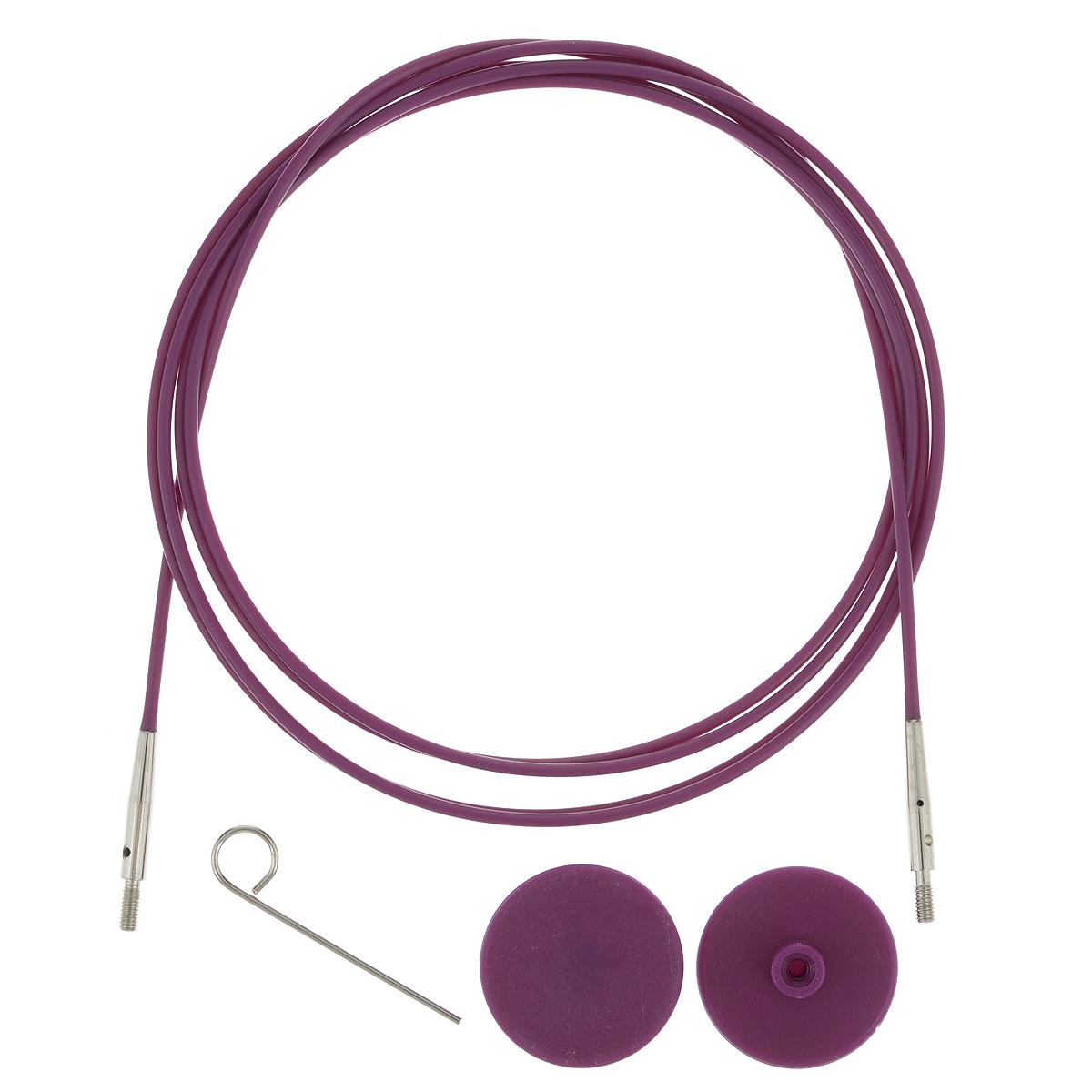 Тросик для съемных спиц KnitPro, с заглушками, цвет: фиолетовый, серебристый, длина 94 см10504Тросик KnitPro, изготовленный из гибкого пластика и металла, легко комбинируются со съемными спицами. Для надежного соединения со спицами тросик комплектуется ключиком и двумя заглушками. Подходит для любого вида съемных спиц: деревянных, никелированных и акриловых фирм KnitPro, Prym и LanaGrossa. Изделие моментально распрямляется и больше не закручивается. На концах тросика - резьба для прикручивания его к спицам. Место соединения спиц и тросика - надежное и гладкое, ничто не помешает петелькам скользить по спицам. Если необходимо использовать спицы для вязания другого изделия, просто открутите их, прикрутите заглушки к тросику и принимайтесь за новое вязание! Длина тросика: 94 см. Длина тросика (с учетом длины съемных спиц): 120 см.
