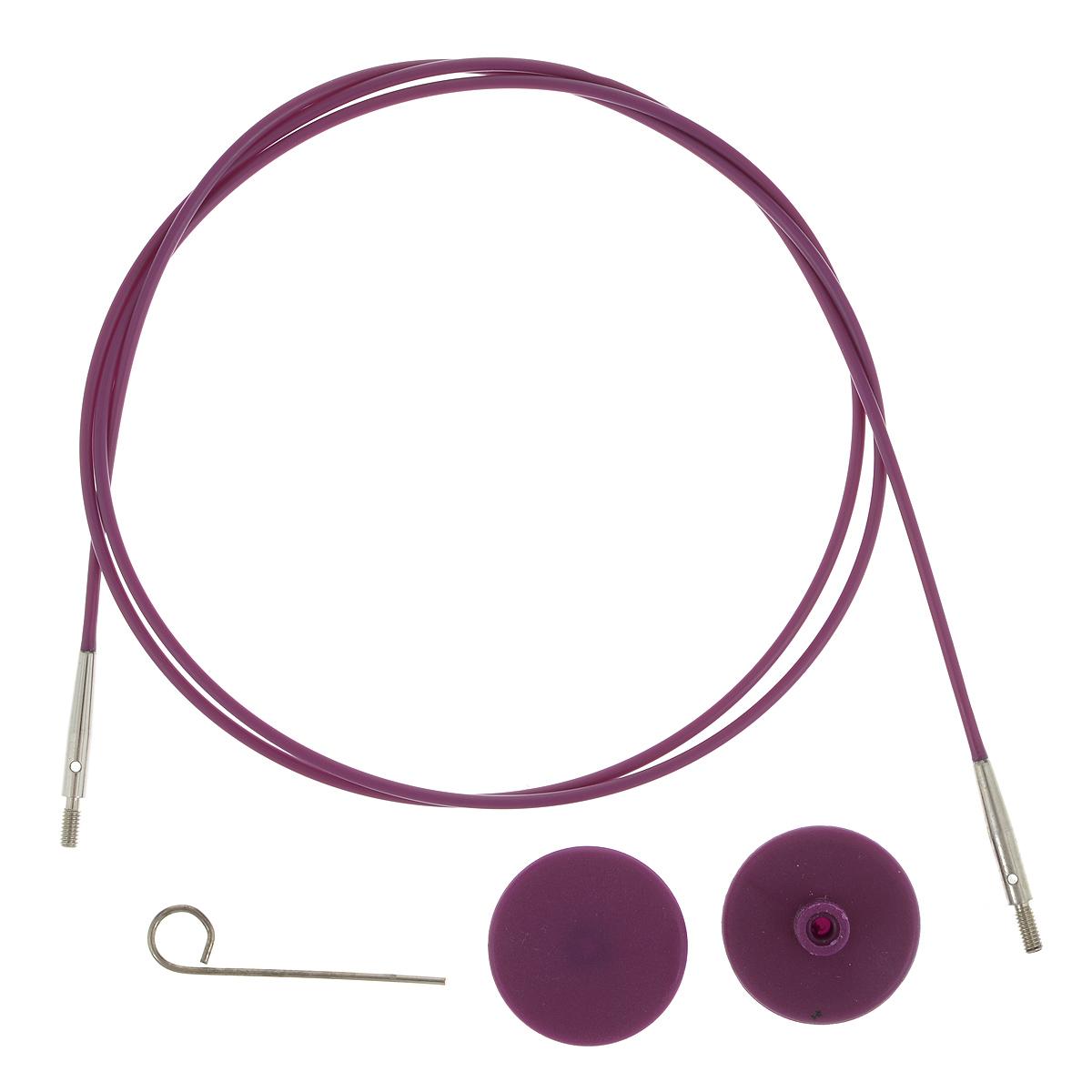 Тросик для съемных спиц KnitPro, с заглушками, цвет: фиолетовый, серебристый, длина 76 см10503Тросик KnitPro, изготовленный из гибкого пластика и металла, легко комбинируются со съемными спицами. Для надежного соединения со спицами тросик комплектуется ключиком и двумя заглушками. Подходит для любого вида съемных спиц: деревянных, никелированных и акриловых фирм KnitPro, Prym и LanaGrossa. Изделие моментально распрямляется и больше не закручивается. На концах тросика - резьба для прикручивания его к спицам. Место соединения спиц и тросика - надежное и гладкое, ничто не помешает петелькам скользить по спицам. Если необходимо использовать спицы для вязания другого изделия, просто открутите их, прикрутите заглушки к тросику и принимайтесь за новое вязание! Длина тросика: 76 см. Длина тросика (с учетом длины съемных спиц): 100 см.
