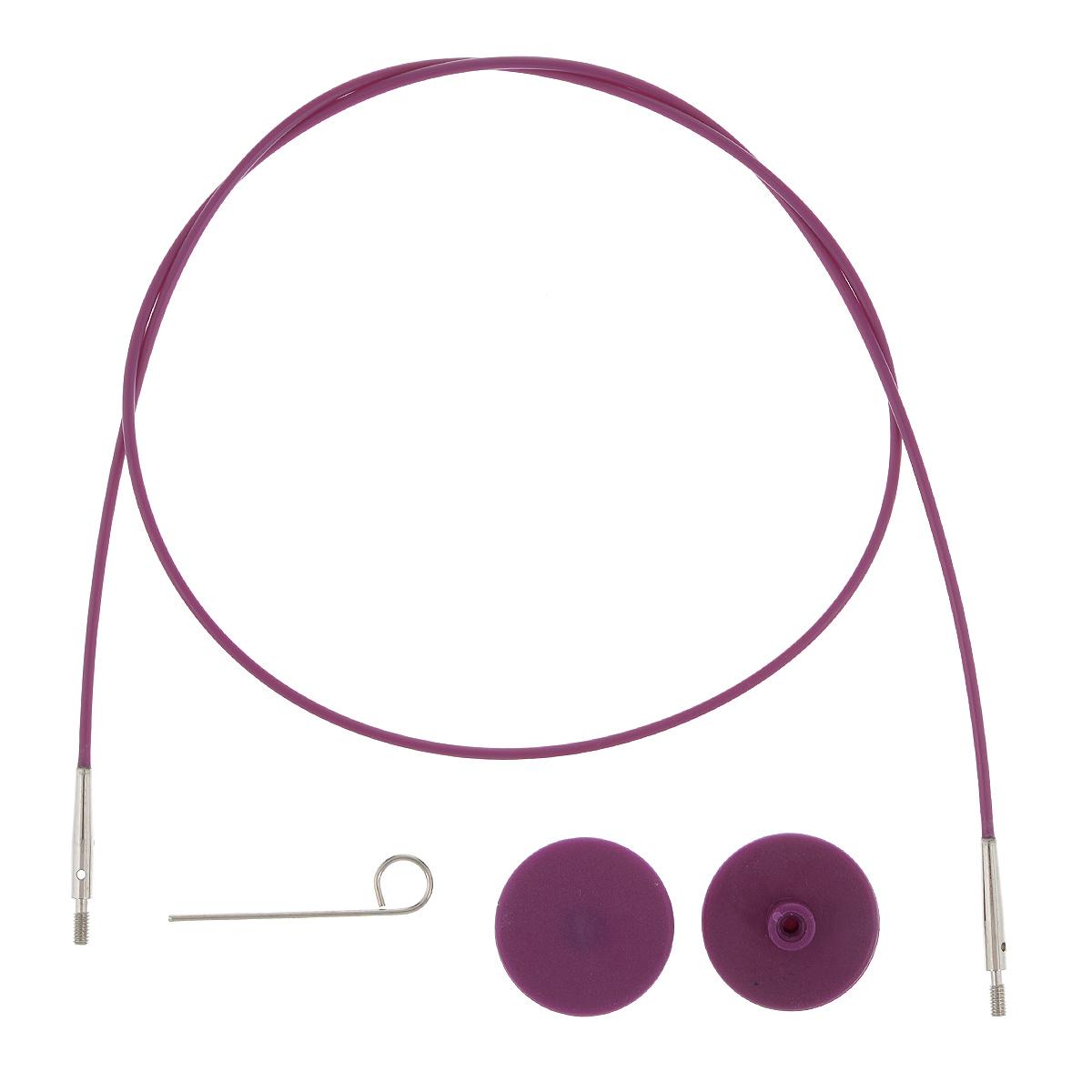Тросик для съемных спиц KnitPro, с заглушками, цвет: фиолетовый, серебристый, длина 56 см10502Тросик KnitPro, изготовленный из гибкого пластика и металла, легко комбинируются со съемными спицами. Для надежного соединения со спицами тросик комплектуется ключиком и двумя заглушками. Подходит для любого вида съемных спиц: деревянных, никелированных и акриловых фирм KnitPro, Prym и LanaGrossa. Изделие моментально распрямляется и больше не закручивается. На концах тросика - резьба для прикручивания его к спицам. Место соединения спиц и тросика - надежное и гладкое, ничто не помешает петелькам скользить по спицам. Если необходимо использовать спицы для вязания другого изделия, просто открутите их, прикрутите заглушки к тросику и принимайтесь за новое вязание! Длина тросика: 56 см. Длина тросика (с учетом длины съемных спиц): 80 см.