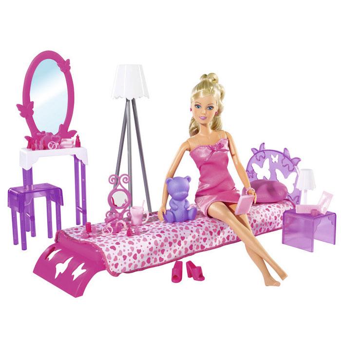 Simba Игровой набор с кулой Штеффи в спальной комнате5730411Кукла Simba Штеффи в спальной комнате надолго займет внимание вашей малышки и подарит ей множество счастливых мгновений. Кукла изготовлена из пластика, ее голова, ручки и ножки подвижны, что позволяет придавать ей разнообразные позы. Спальня - это особенная комната. В ней так хочется расслабиться и забыть обо всем. В этой комнате ничего не должно раздражать, а только способствовать полноценному отдыху. В комплекте с куклой имеется кровать со спинкой, покрывало, туалетный столик с зеркалом, стульчик, игрушечный медведь, торшер, полка, настольная лампа, 25 аксессуаров для спальни. Кукла одета в розовое платье. Наряд дополняют розовые босоножки и серьги. Благодаря играм с куклой, ваша малышка сможет развить фантазию и любознательность, овладеть навыками общения и научиться ответственности, а дополнительные аксессуары сделают игру еще увлекательнее. Порадуйте свою принцессу таким прекрасным подарком!