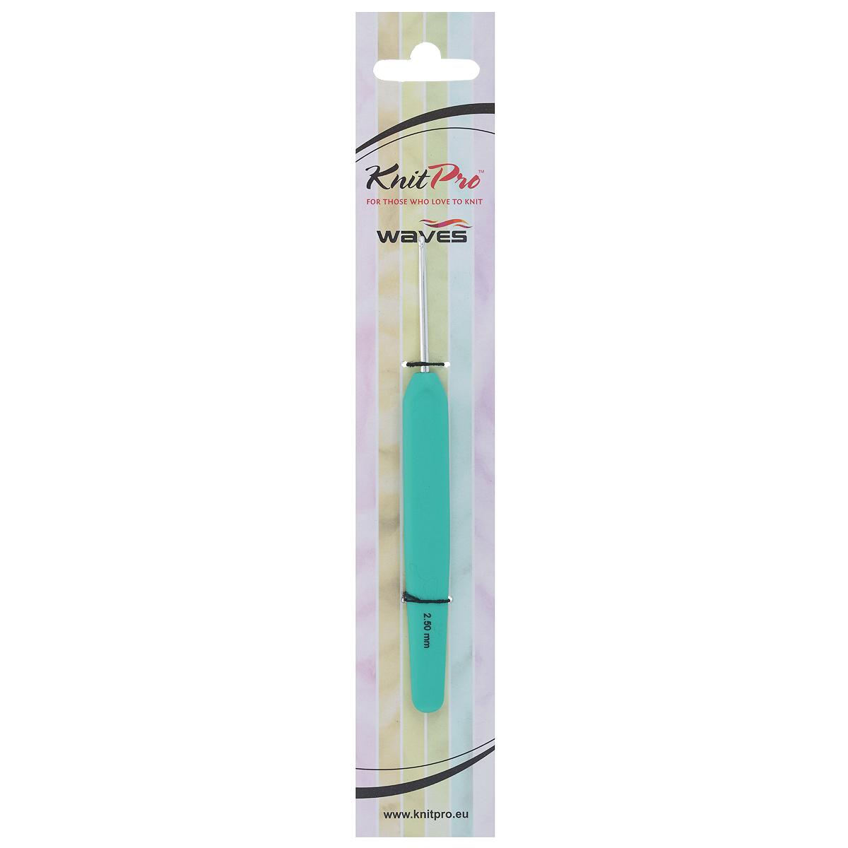 Крючок для вязания KnitPro Waves, цвет: зеленый, диаметр 2,5 мм30903Крючок KnitPro Waves, изготовленный из алюминия, оснащен эргономичной пластиковой ручкой с покрытием soft-touch. Он предназначен для вязания и плетения из ниток, ручного изготовления полотна. Вязание крючком применяют как для изготовления одежды целиком, так и отделочных элементов или украшений. Вы сможете вязать для себя и делать подарки друзьям. Рукоделие всегда считалось изысканным, благородным делом. Работа, сделанная своими руками, долго будет радовать вас и ваших близких. Подарок, выполненный собственноручно, станет самым ценным для друзей и знакомых.