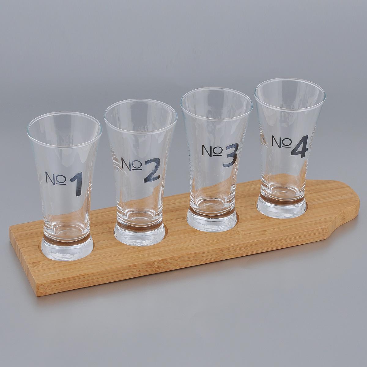 Набор дегустационных бокалов для пива Sagaform Bar, 5 предметов5016697Набор Sagaform Bar состоит из 4 бокалов и подставки. Бокалы выполнены из высококачественного тонкого стекла, имеют нумерацию. Для бокалов предусмотрена деревянная подставка. Элегантный набор дегустационных пивных бокалов не оставит равнодушным гурманов пенного напитка. Прекрасный подарок на любой случай. Объем бокала: 150 мл. Диаметр бокала (по верхнему краю): 6,5 см. Высота бокала: 12,5 см. Размер подставки: 33,5 см х 10 см х 1,5 см.