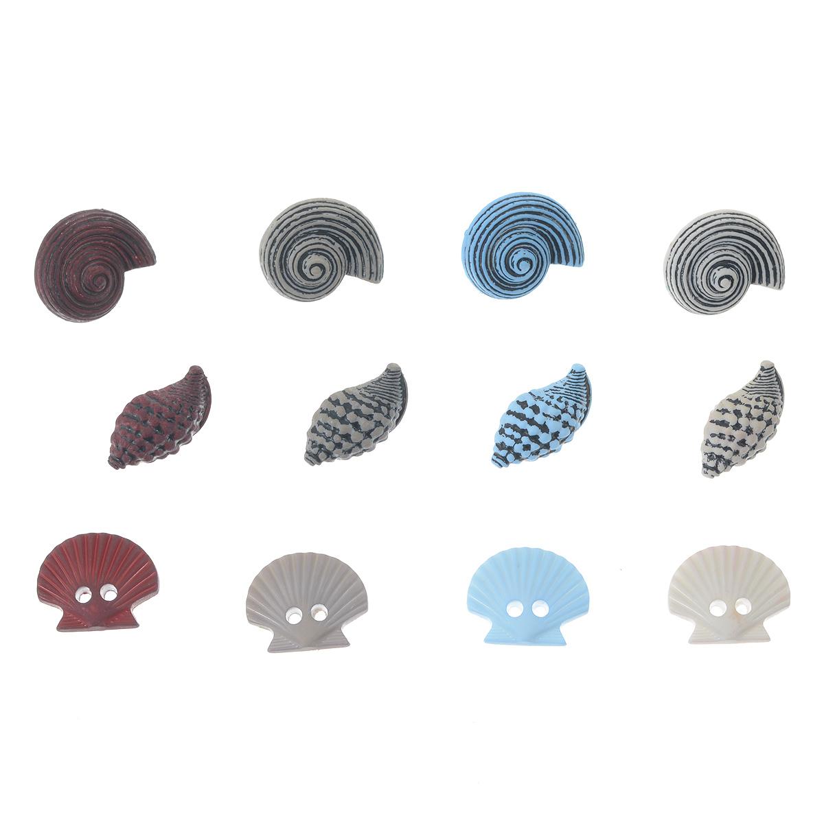 Пуговицы декоративные Buttons Galore & More Craft Buttons, 12 шт7705884Набор Buttons Galore & More Craft Buttons состоит из 12 декоративных пуговиц. Изделия выполнены из пластика в форме ракушек. Предметы набора подходят для любых видов творчества: скрапбукинга, декорирования, шитья, изготовления кукол, а также для оформления одежды. С их помощью вы сможете украсить открытку, фотографию, альбом, подарок и другие предметы ручной работы. Изделия имеют оригинальный и яркий дизайн. Средний размер пуговицы: 1,8 см х 1,5 см х 0,5 см.