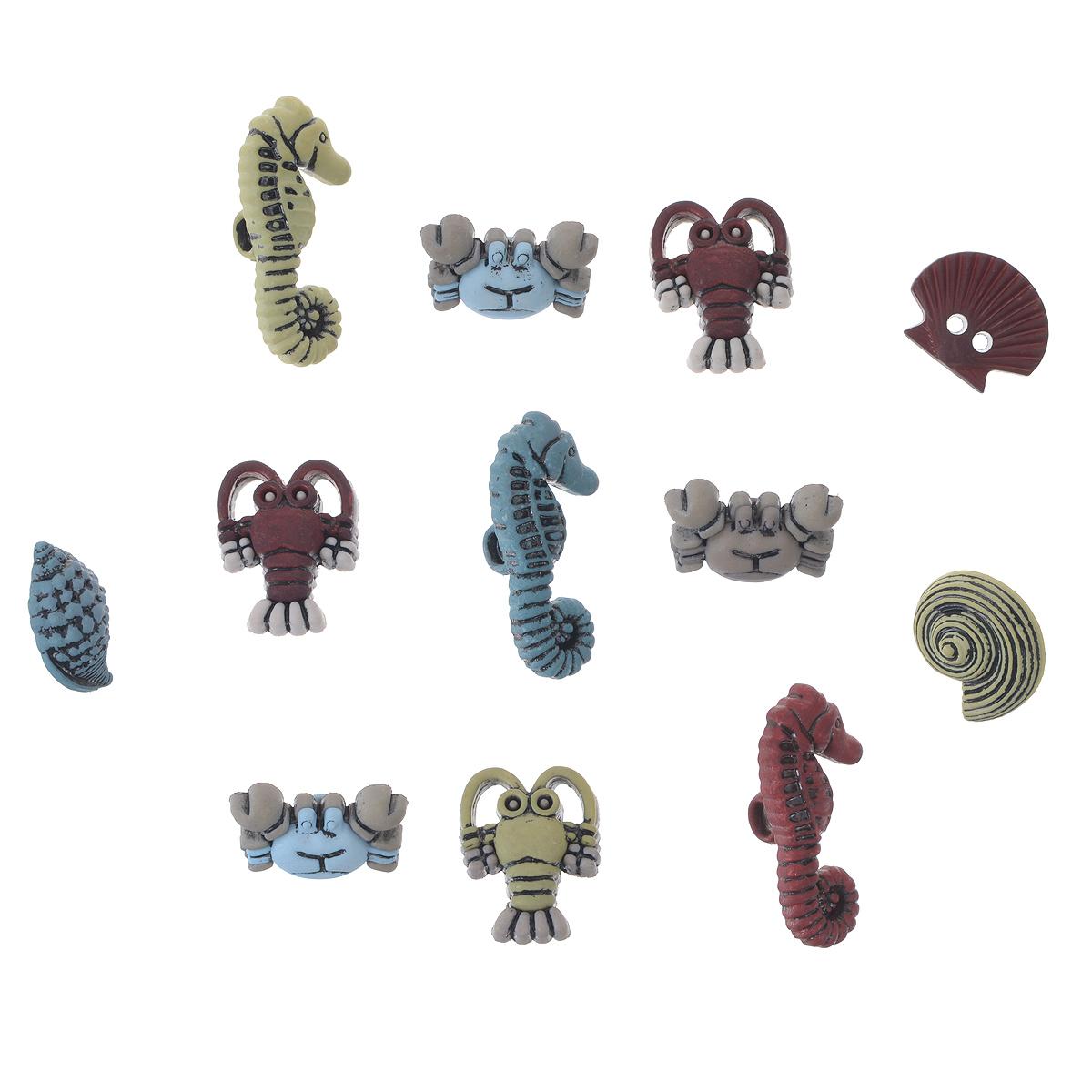 Пуговицы декоративные Buttons Galore & More Craft Buttons, 14 шт7705887Набор Buttons Galore & More Craft Buttons состоит из 14 декоративных пуговиц. Изделия выполнены из пластика в форме раков, крабов, морских коньков, ракушек. Предметы набора подходят для любых видов творчества: скрапбукинга, декорирования, шитья, изготовления кукол, а также для оформления одежды. С их помощью вы сможете украсить открытку, фотографию, альбом, подарок и другие предметы ручной работы. Изделия имеют оригинальный и яркий дизайн. Средний размер пуговицы: 2,2 см х 2,2 см х 0,5 см.