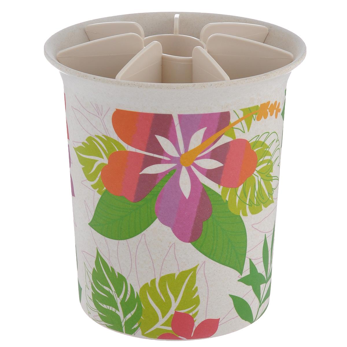 Подставка для кухонных принадлежностей EcoWoo, высота 16 см1515078UПодставка для кухонных принадлежностей EcoWoo изготовлена из бамбукового волокна - экологически чистого материала, безвредного для окружающей среды. Внешние стенки оформлены красочным рисунком. Емкость оснащена 8 секциями для различных столовых приборов: ложек, вилок, ножей и других кухонных аксессуаров. Изящная подставка оформит интерьер кухни и послужит функционально. Диаметр подставки: 15 см. Высота подставки: 16 см. Диаметр дна подставки: 11 см.