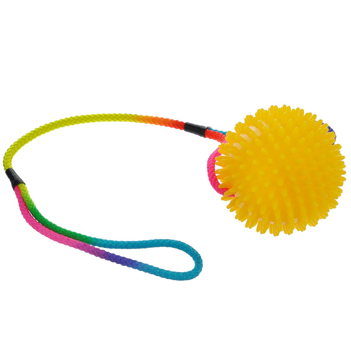 Игрушка для собак V.I.Pet Массажный мяч, на шнуре, цвет: желтый, диаметр 10 см771050_желтыйИгрушка для собак V.I.Pet Массажный мяч, изготовленная из ПВХ, предназначена для массажа и самомассажа рефлексогенных зон. Она имеет мягкие закругленные массажные шипы, эффективно массирующие и не травмирующие кожу. Сквозь мяч продет шнур. Игрушка не позволит скучать вашему питомцу ни дома, ни на улице. Диаметр: 10 см. Длина шнура: 50 см.