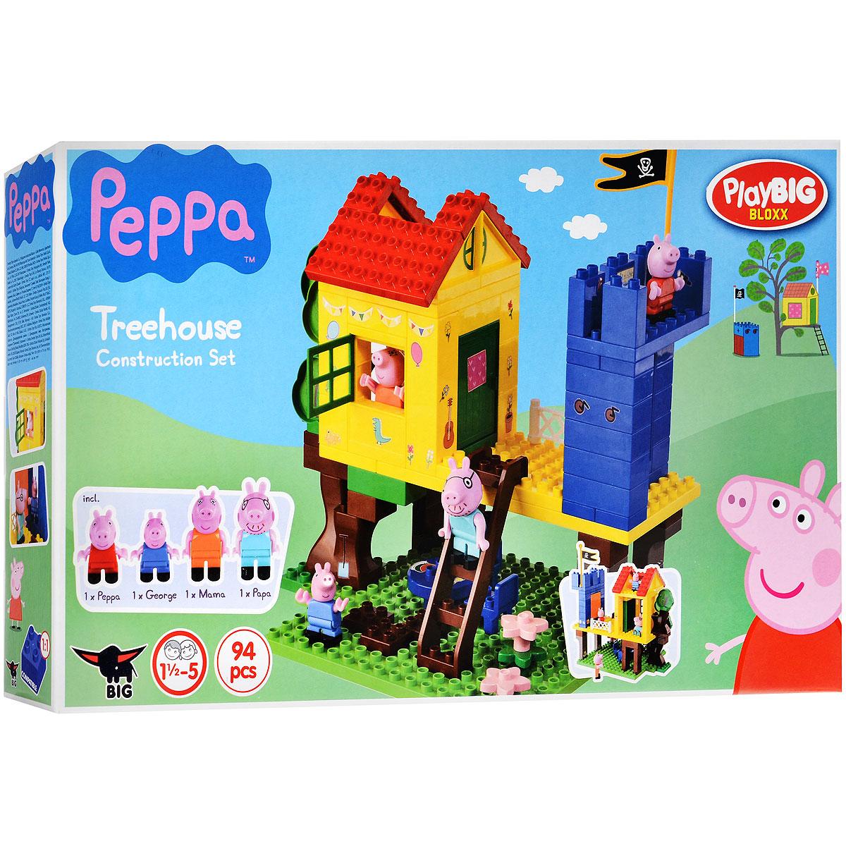 Peppa Pig Конструктор Дом на дереве57077Конструктор Play Big Peppa Pig. Дом на дереве обязательно порадует поклонников всемирно известного британского мультика Свинка Пеппа. Вместе с младшим братиком Джорджем Пеппа обожает проводить все свое свободное время в домике на дереве, устраивая подвижные игры. Иногда к ним присоединяется даже мама с папой и тогда начинается настоящее веселье, ведь интереснее всего играть всей семьей. Зеленую лужайку, на которой Пеппа с братиком так любят играть в салочки, можно украсить яркими розовыми цветочками. Кроме того, на домике располагается мачта с пиратским флагом, словно на настоящем корабле, с ее вершины очень удобно осматривать окрестности. Красочный конструктор отлично развивает воображение ребенка, его логику и инженерное мышление, мелкую моторику. Набор содержит 94 детали, в том числе фигурки Пеппы, Джорджа, Папы и Мамы. Рекомендуемый возраст: от 18 месяцев.