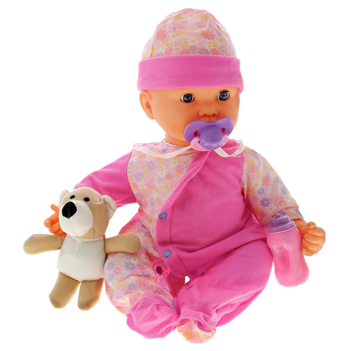 Joy Toy Пупс Мила. Сон с медвежонкомG589-H43115Девочки очень любят подражать мамам, поэтому им нужен собственный малыш, которого можно кормить, поить и укладывать спать. Его роль сможет выполнить Пупс Мила. Сон с медвежонком. Кукла смеется при подкидывании, пьет из бутылочки и сосет соску, причмокивая, спит, как настоящий младенец. Если кукле дать медвежонка, то она уснет. Пупс одет в розовый комбинезончик и шапочку В комплекте: кукла, бутылочка, мишка и соска на ленточке. Для работы игрушки необходимы 3 батарейки напряжением 1,5V типа АА (входят в комплект).