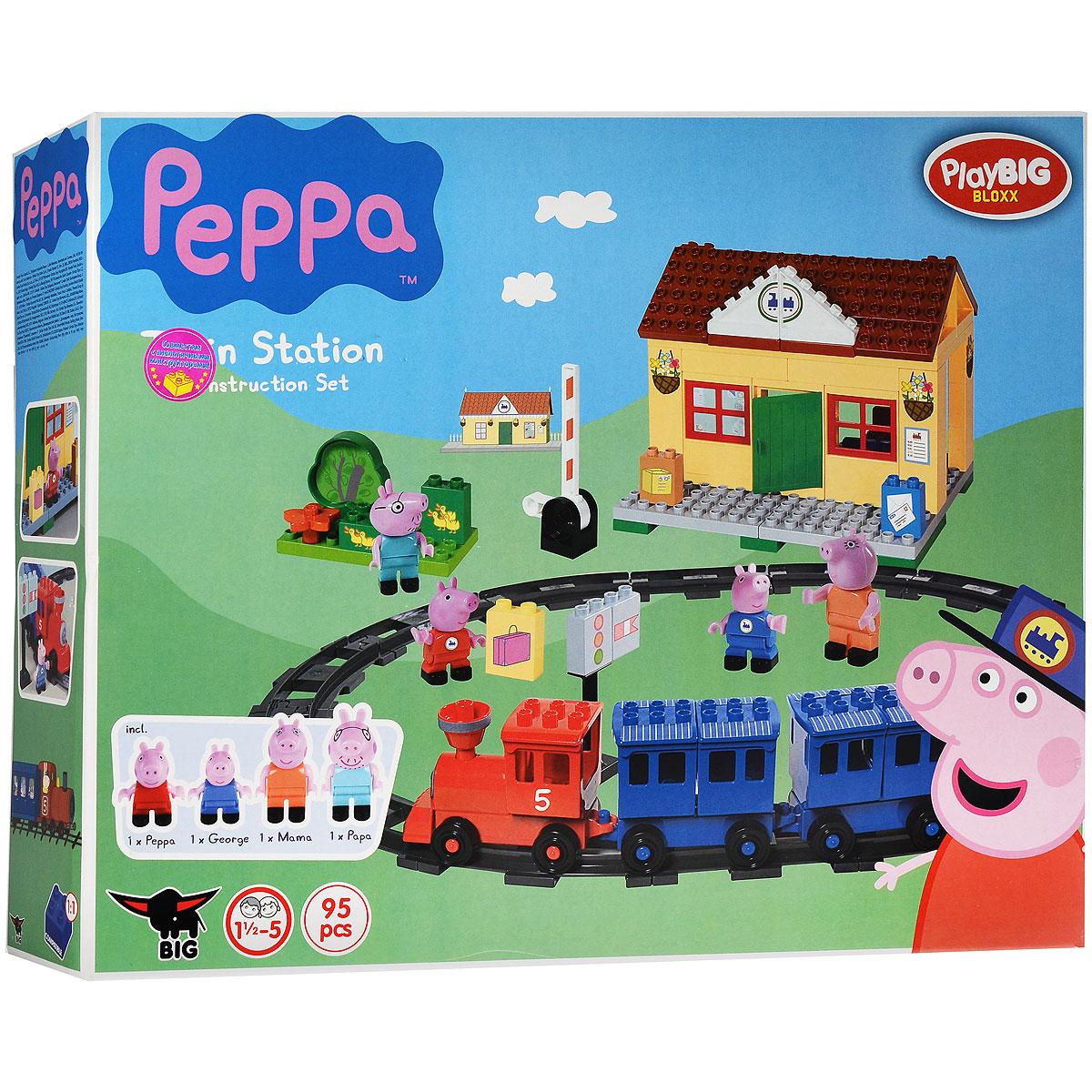 Play Big Конструктор Peppa Pig Железнодорожная станция57079Конструктор Play Big Peppa Pig. Железнодорожная станция обязательно порадует поклонников всемирно известного британского мультика Свинка Пеппа. Одна из самых ярких и интересных серий мультика про Свинку Пеппу - Поездка на поезде. А значит, игры с конструктором Железнодорожная станция станут невероятно интересными и захватывающими. Помимо деталей конструктора для строительства железной дороги и станции, в комплект вошли четыре фигурки персонажей: Свинка Пеппа, Джордж, а также папа и мама. Ребенок сможет воспроизвести увиденный мультипликационный сюжет или придумать совершенно новый, а затем устроить семейству Пеппы увлекательное путешествие. Благодаря тому, что здание железнодорожной станции представляет собой уютный домик, пассажиры смогут в комфорте подождать поезд, не замерзнут и не вымокнут под дождем. Красочный конструктор отлично развивает воображение ребенка, его логику и инженерное мышление, мелкую моторику. Набор содержит 95 деталей, в том числе...