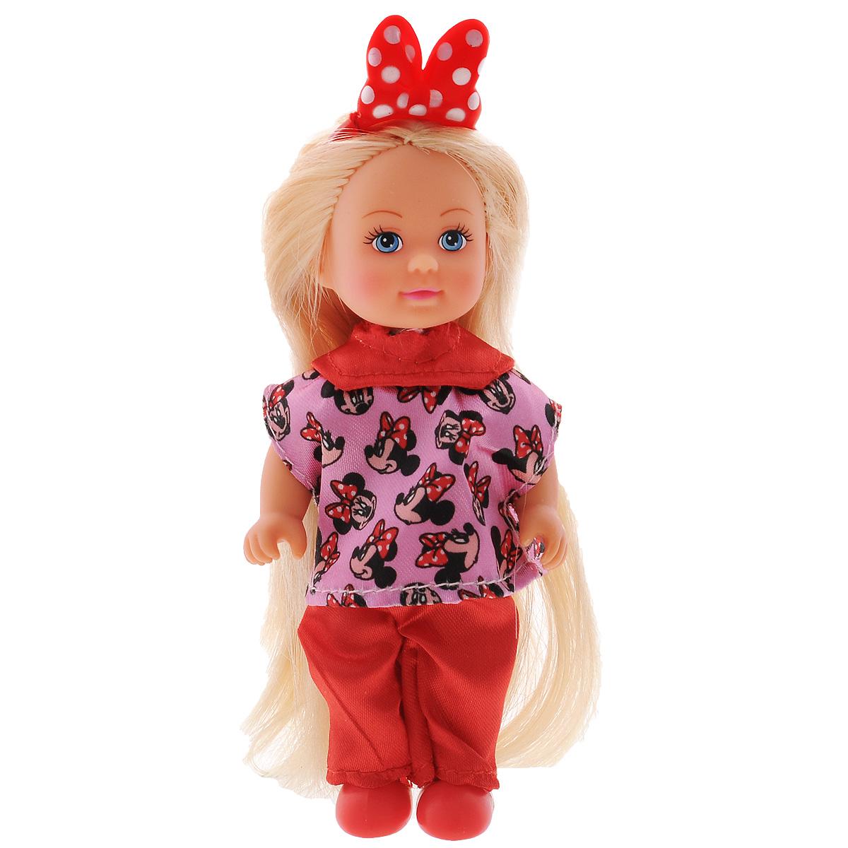 Simba Игровой набор Minnie Mouse Еви стилист5746513Игровой набор Minnie Mouse: Еви стилист станет отличным подарком для вашей малышки. Набор включает в себя куколку Еви с длинными волосами и аксессуары для создания ей прически (фен, расчески, заколки). Все аксессуары выполнены из прочного безопасного пластика. Очаровательная куколка Еви одета в розово-красный костюм с изображением Minnie Mouse, на ногах красные ботиночки. Благодаря аксессуарам набора ваша малышка сможет создавать Еви различные образы и прически. Играя со своей маленькой подружкой, ребенок сможет развить воображение и фантазию, а также творческие способности.