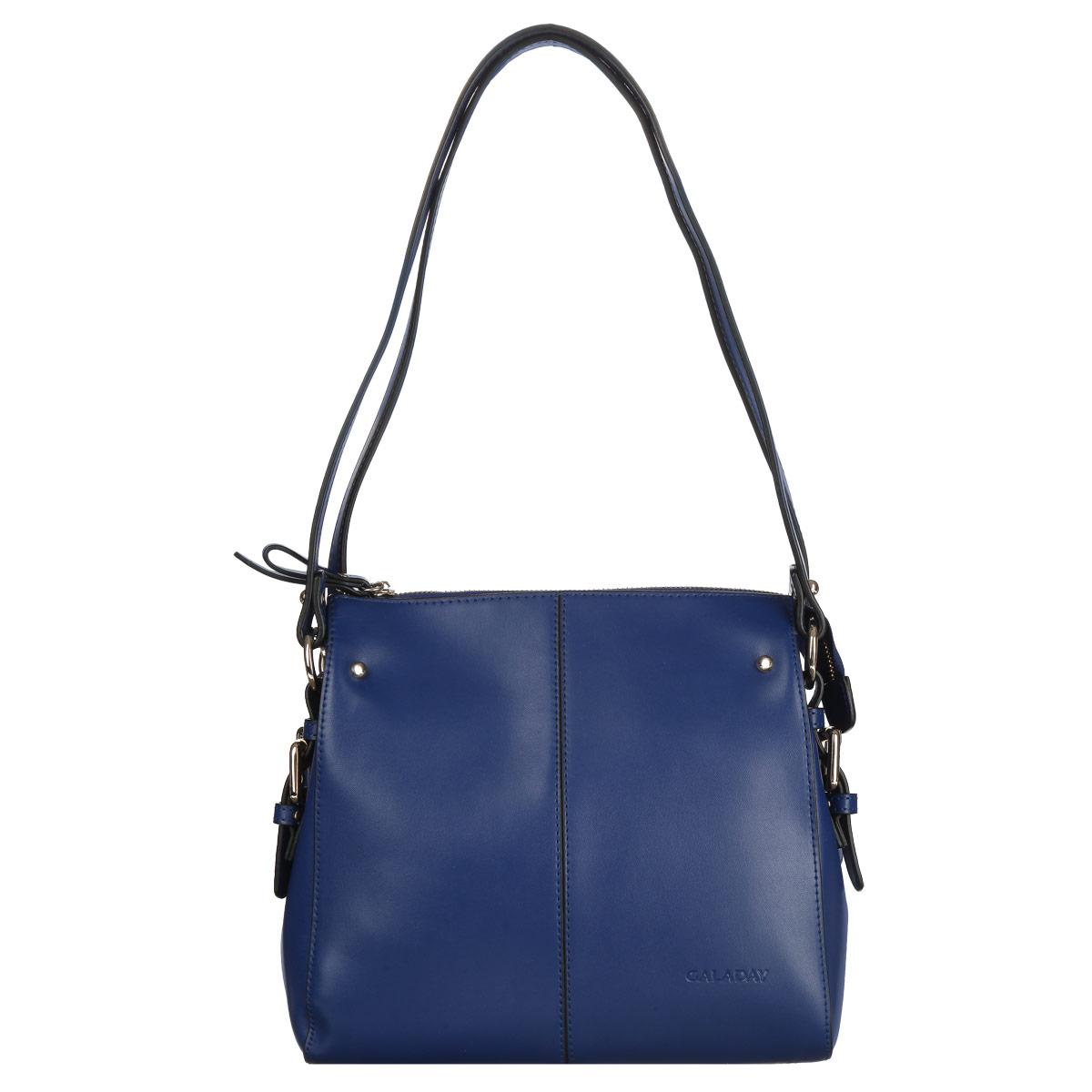 Сумка женская Galaday, цвет: синий. GD4140QGD4140QСтильная женская сумка Galaday, изготовленная из натуральной кожи, неотъемлемый атрибут любой современной женщины. Удобные ручки в виде двух ремешков оформлены металлическими элементами у основания, прочно крепятся к корпусу сумки и позволяют носить сумку как в руке, так и на плече. Изделие закрывается на металлическую застежку-молнию. Внутреннее отделение, разделенное средником на молнии, содержит карман для мобильного телефона и врезной карман на застежке-молнии. Модель дополняют стальные кнопки. Дно защищено от повреждений металлическими ножками. Фурнитура золотого цвета. Сумки Galaday запоминаются и делают ваш образ незабываемым. Продукция этого бренда женственна и элегантна, ее характеризуют романтизм и яркость. Изделие упаковано в фирменный чехол.