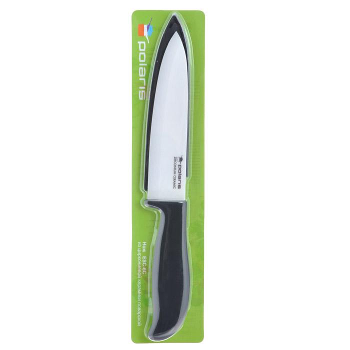 Нож поварской Polaris, керамический, с чехлом, длина лезвия 15,3 смESC-6CНож Polaris изготовлен из высококачественной циркониевой керамики - гигиеничного, экологически чистого материала. Нож имеет острое лезвие, не требующее дополнительной заточки. Эргономичная рукоятка выполнена из высококачественного пищевого пластика черного цвета с эффектом Soft-touch. Рукоятка не скользит в руках и делает резку удобной и безопасной. Такой нож предназначен для нарезки твердых и мягких продуктов: овощей, фруктов, сыра, мяса. Керамика - это отличная альтернатива металлу. В отличие от стальных ножей, керамические ножи не переносят ионы металла в пищу, не разрушаются от кислот овощей и фруктов и никогда не заржавеют. Этот нож будет служить вам многие годы при соблюдении простых правил. В комплекте пластиковый чехол для лезвия. Допускается мытье в горячей воде с моющими средствами. Ввиду хрупкости материала, используйте нож бережно.