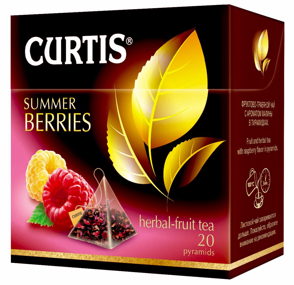 Curtis Summer Berries травяной чай в пакетиках, 20 шт515600Curtis Summer Berries - чайный напиток с кусочками ягод и фруктов и ароматом малины в пирамидках.