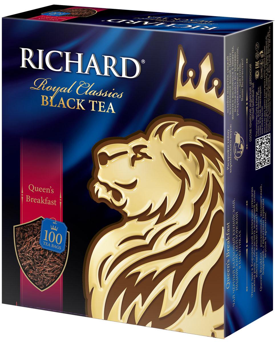 Richard Queens Breakfast черный чай в пакетиках, 100 шт610002Richard Queens Breakfast - черный байховый чай из различных регионов (цейлонский, индийский, кенийский) в пакетиках. Имеет приятный, терпкий и бодрящий вкус.