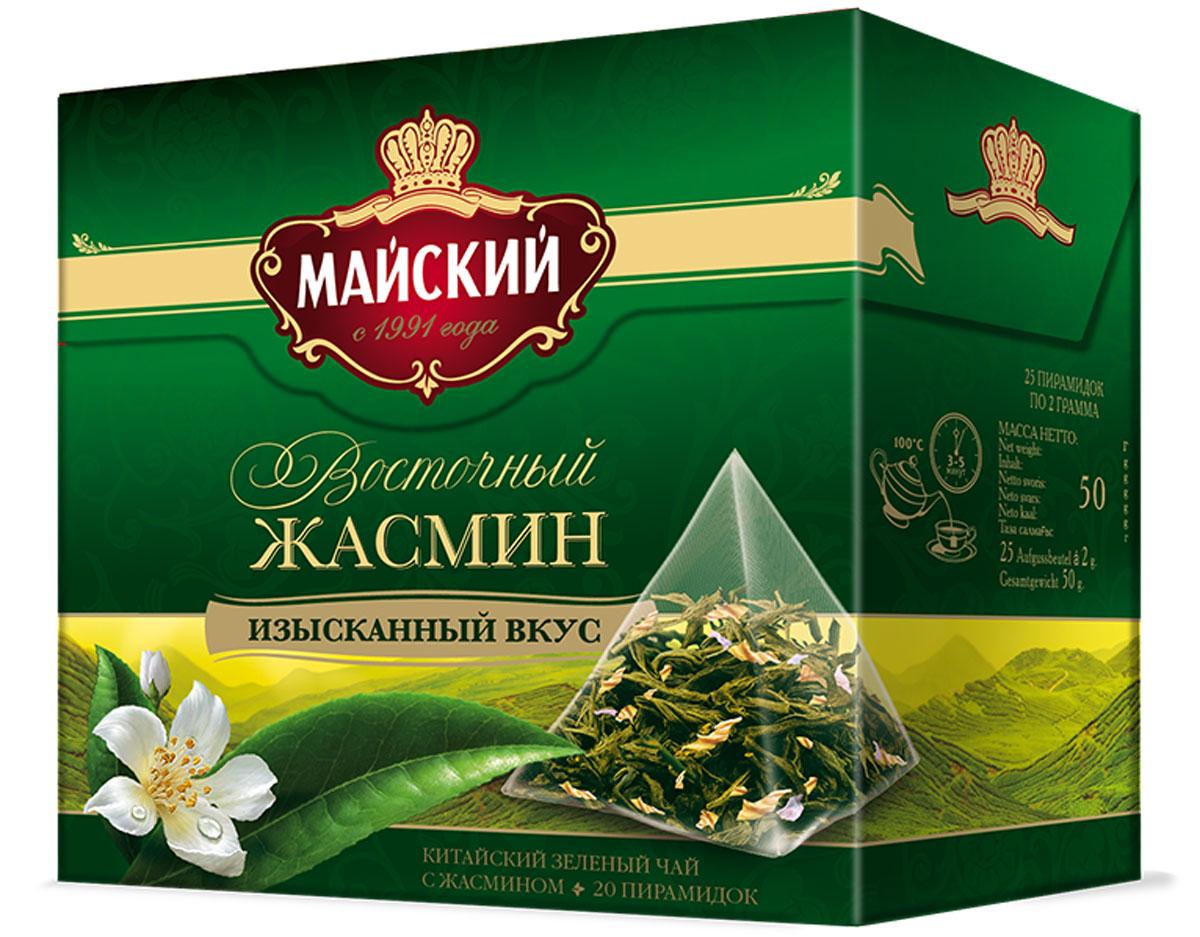 Майский Зеленый Восточный Жасмин зеленый чай в пирамидках, 20 шт116201Майский Зеленый Восточный Жасмин - идеальное сочетание нежного аромата цветов жасмина и освежающего вкуса крупнолистового зеленого чая в пирамидках.